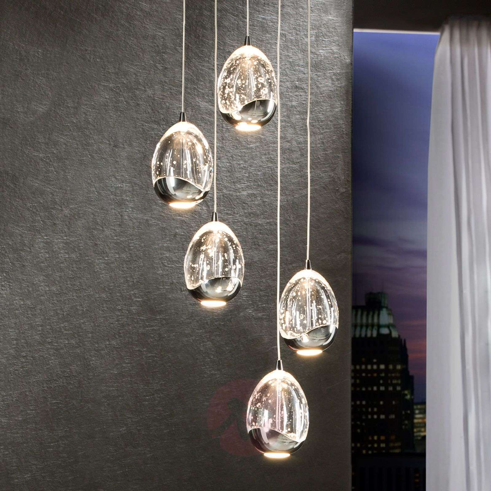 Rocio LED hanging light, five-bulb, chrome, round-8582201-01