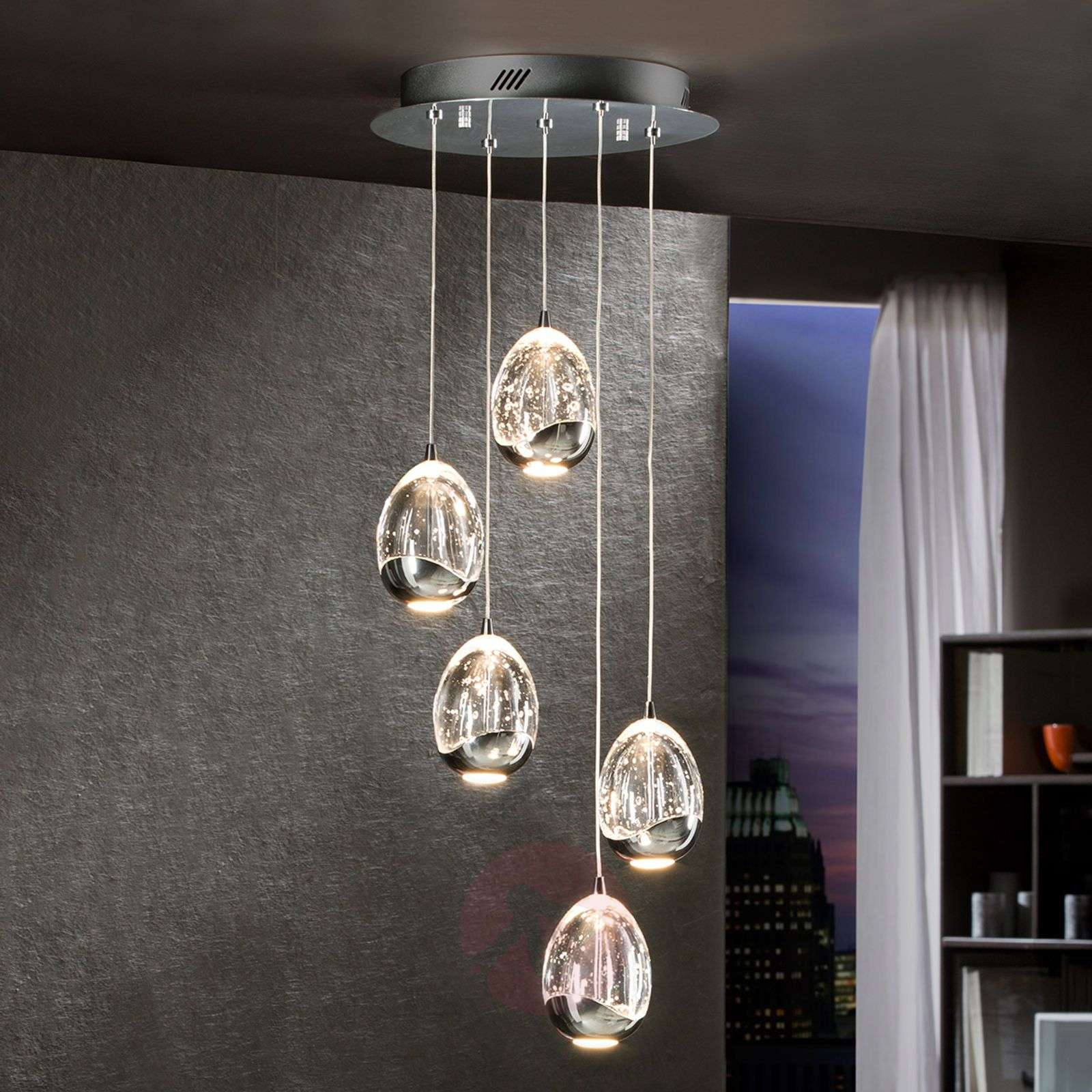 Rocio LED hanging light, five-bulb, chrome, round-8582201-01