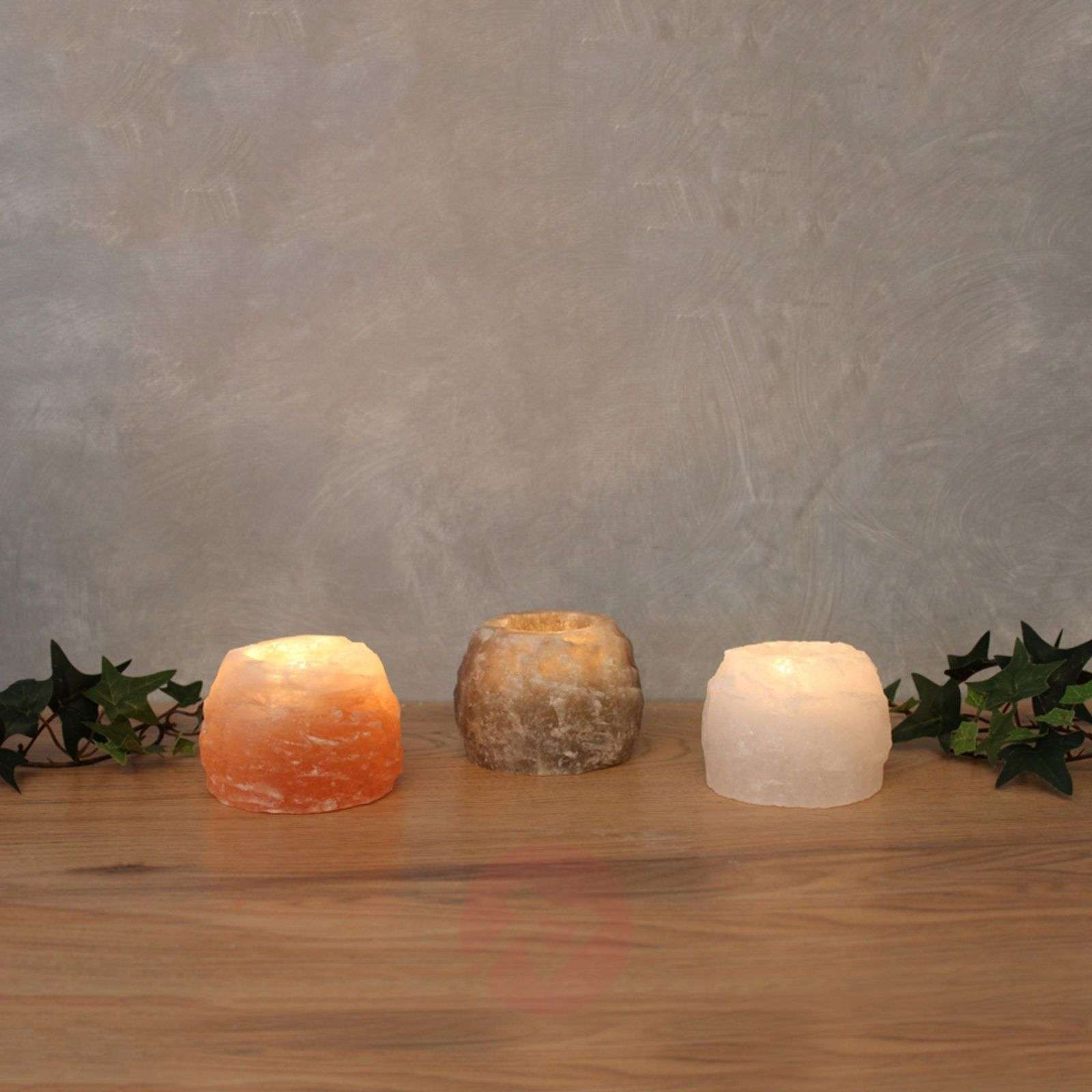 Rock Trio tea light holder set, salt crystal-9608056-01