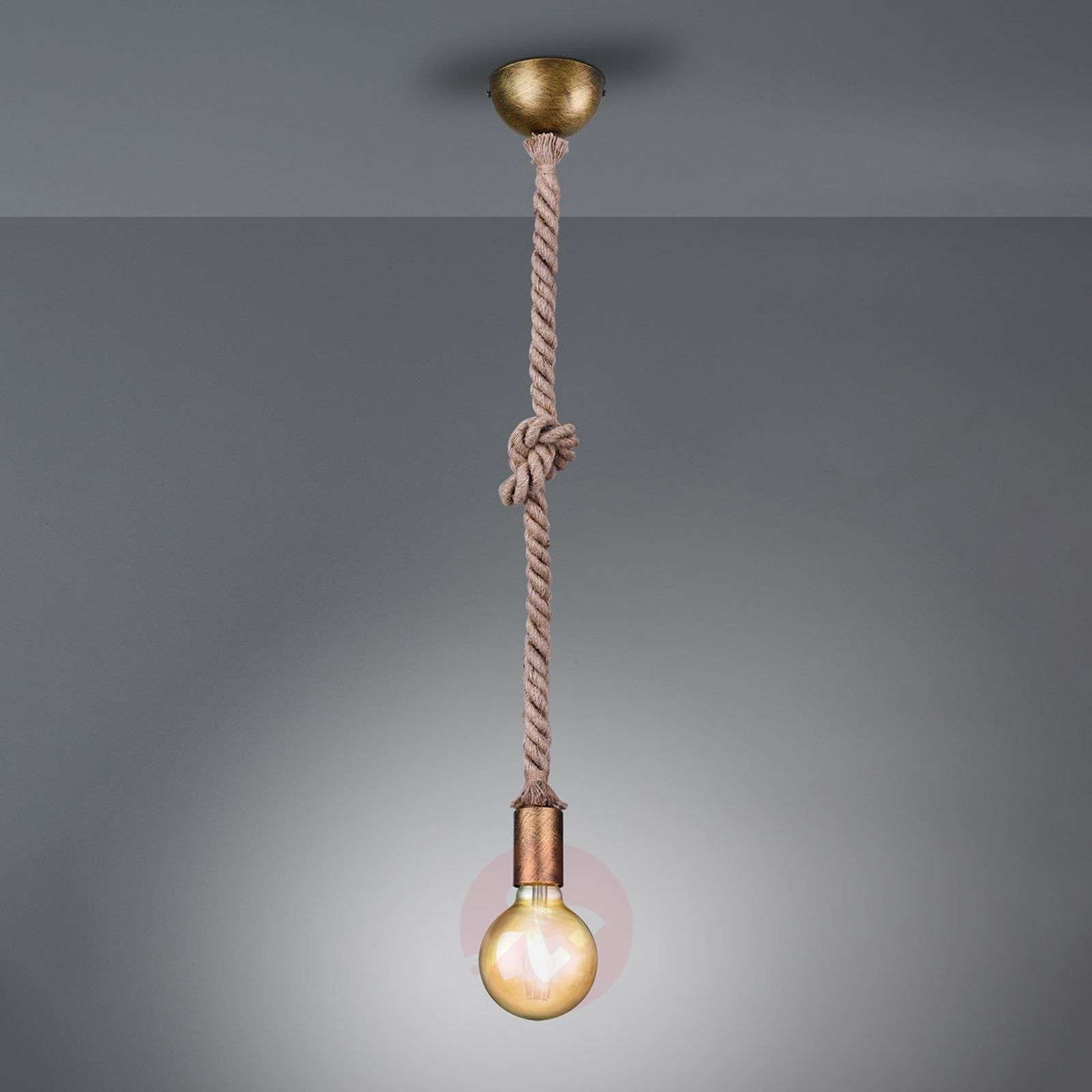 Rope pendant lamp with a decorative rope, 1-bulb