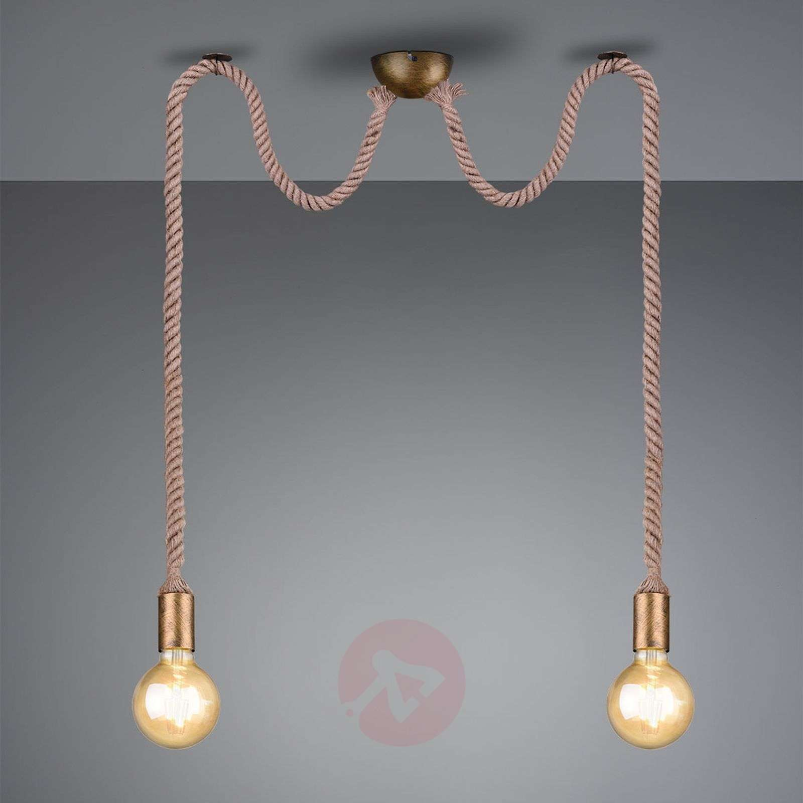 Rope pendant lamp with a decorative rope, 2-bulb