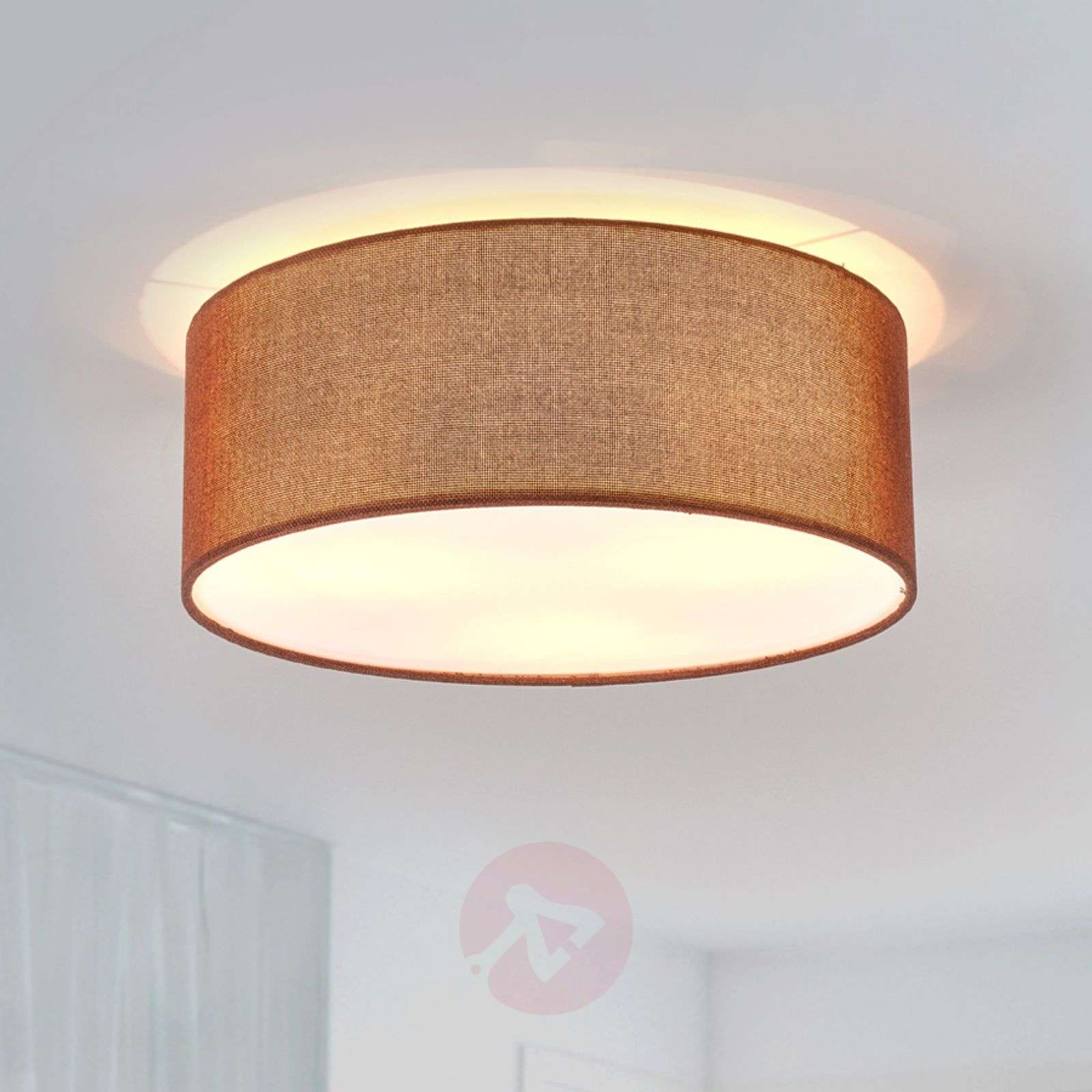 Round, brown Henrika fabric ceiling light-4018019-05