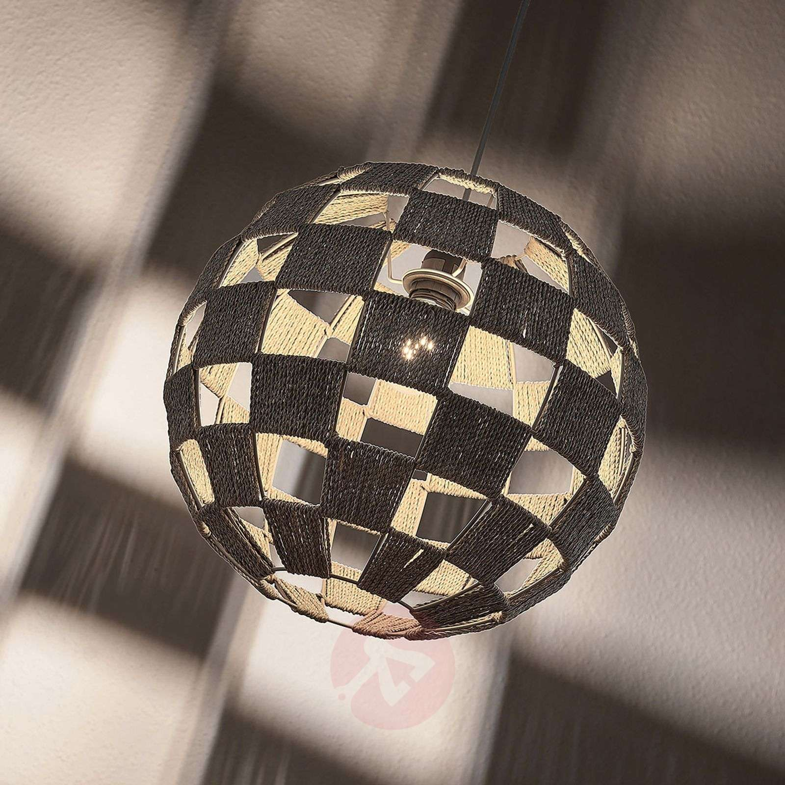 Round hanging lamp Jiliana, grey, chequered-9624281-02