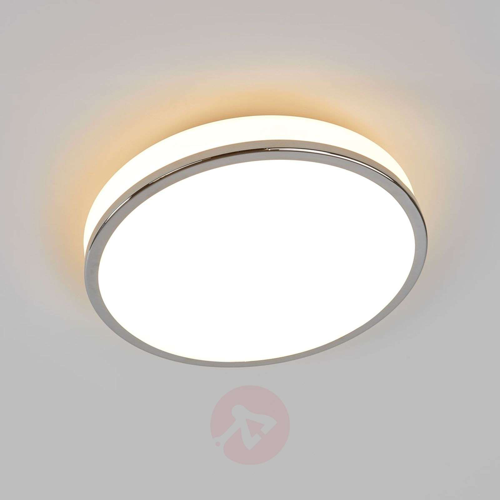 Round LED ceiling lamp Lyss with chrome frame IP44-9633042-01