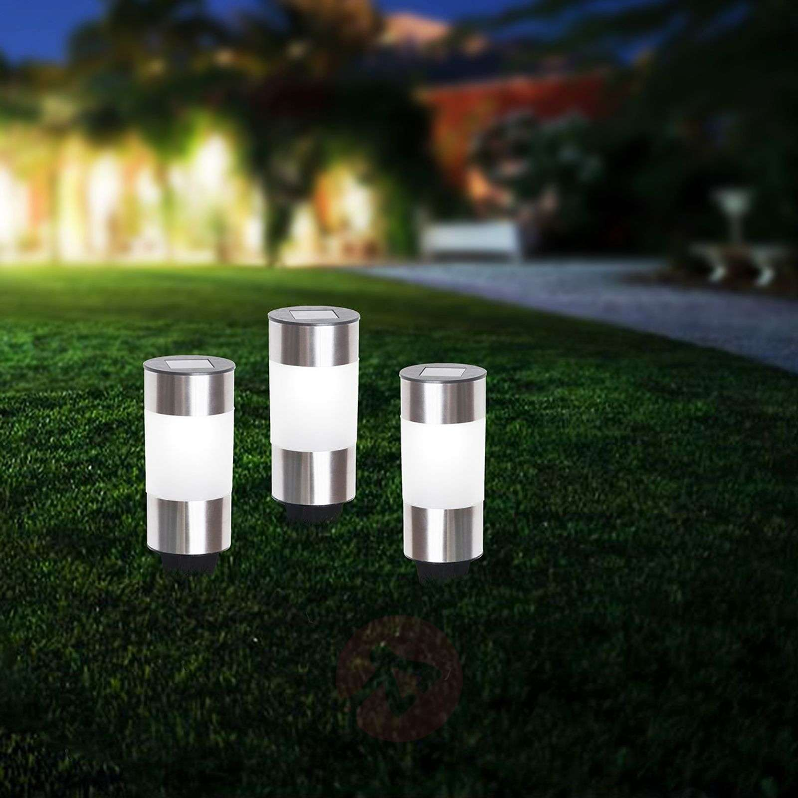 Round solar pillar light Valea, stainless steel-4014998-01
