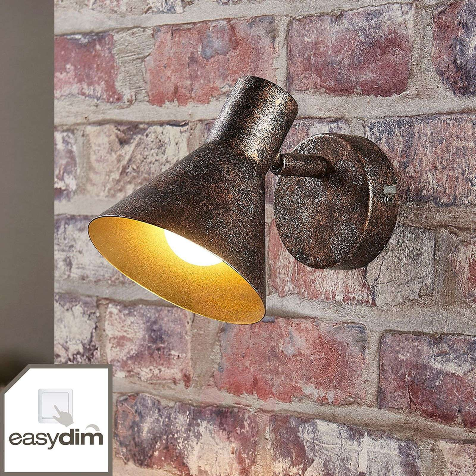 Rust-coloured LED wall light Zera, gold interior-9621539-02
