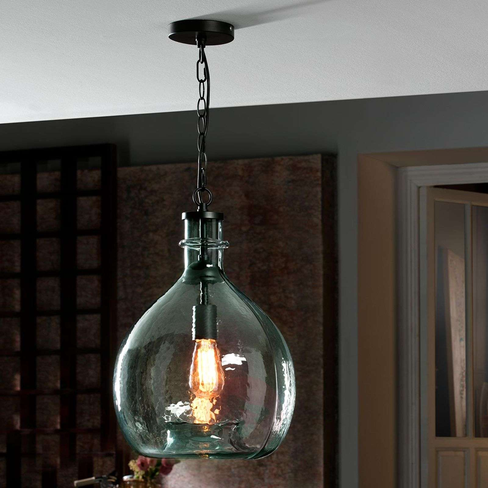 Rustic glass hanging light Laia, blue-8582313-01