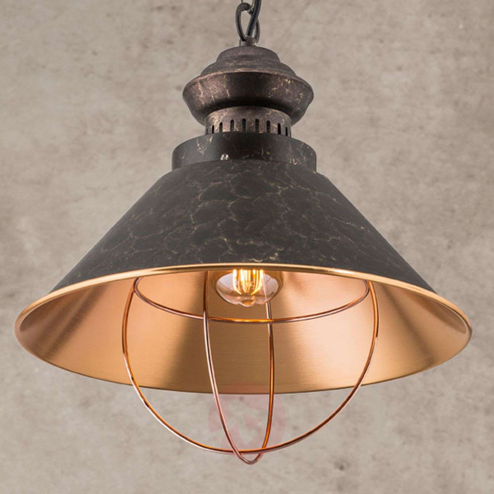 Rustic pendant lamp Shanta, one-bulb-7255169-07