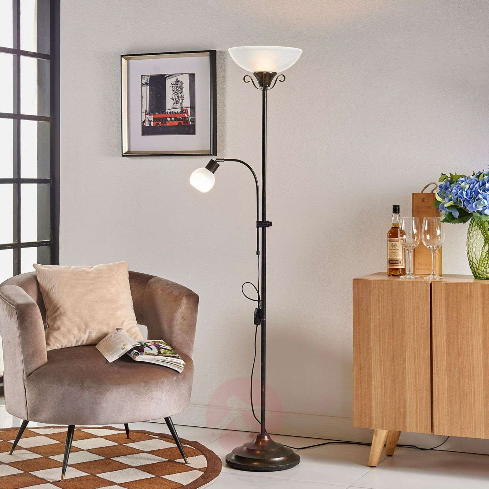 Rustic uplighter Hannes with reading light-9621006-04