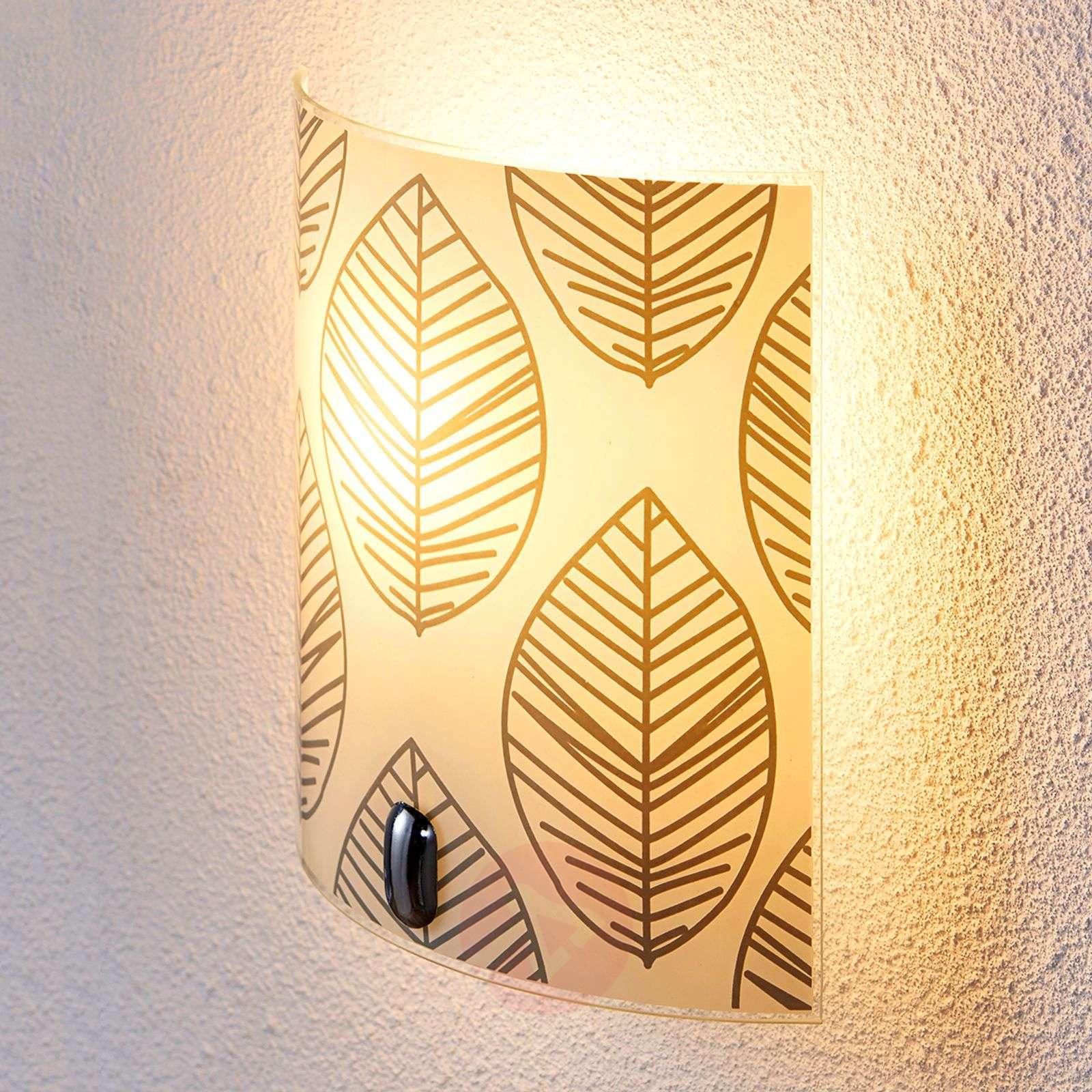 Savas - glass wall lamp with leaf décor | Lights.ie