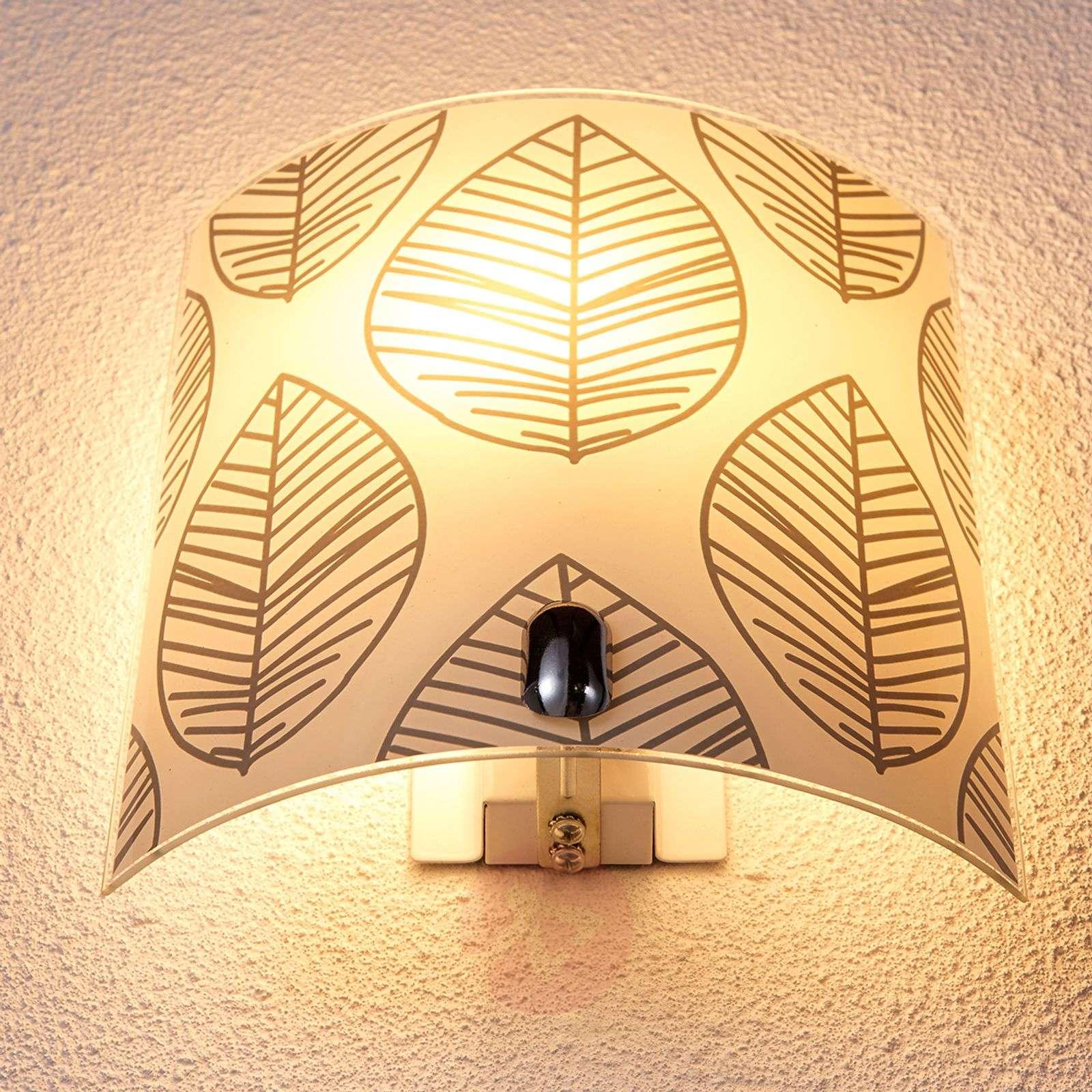 Savas - glass wall lamp with leaf décor   Lights.ie