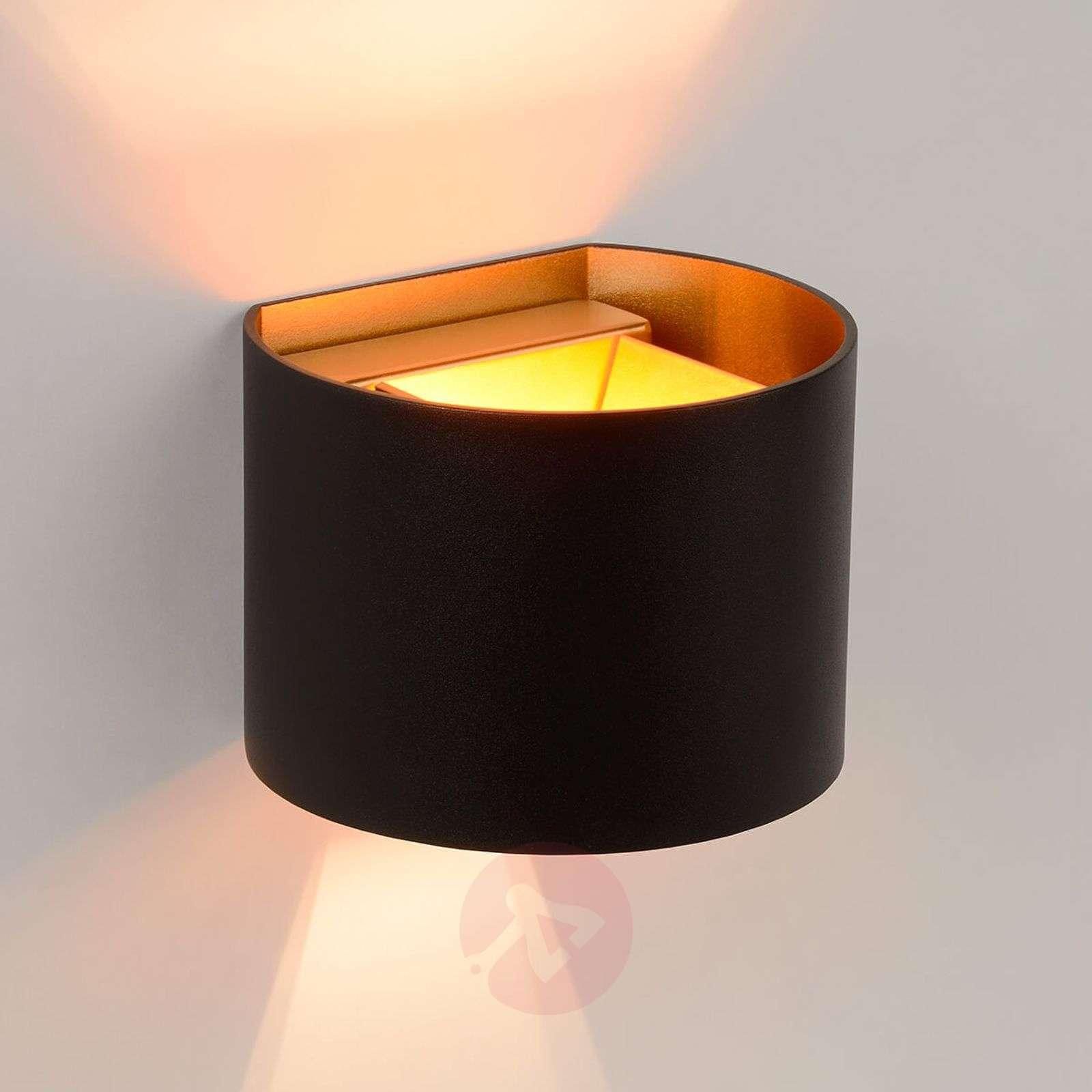 Semi-circular LED wall lamp Xio in black-6055295-01