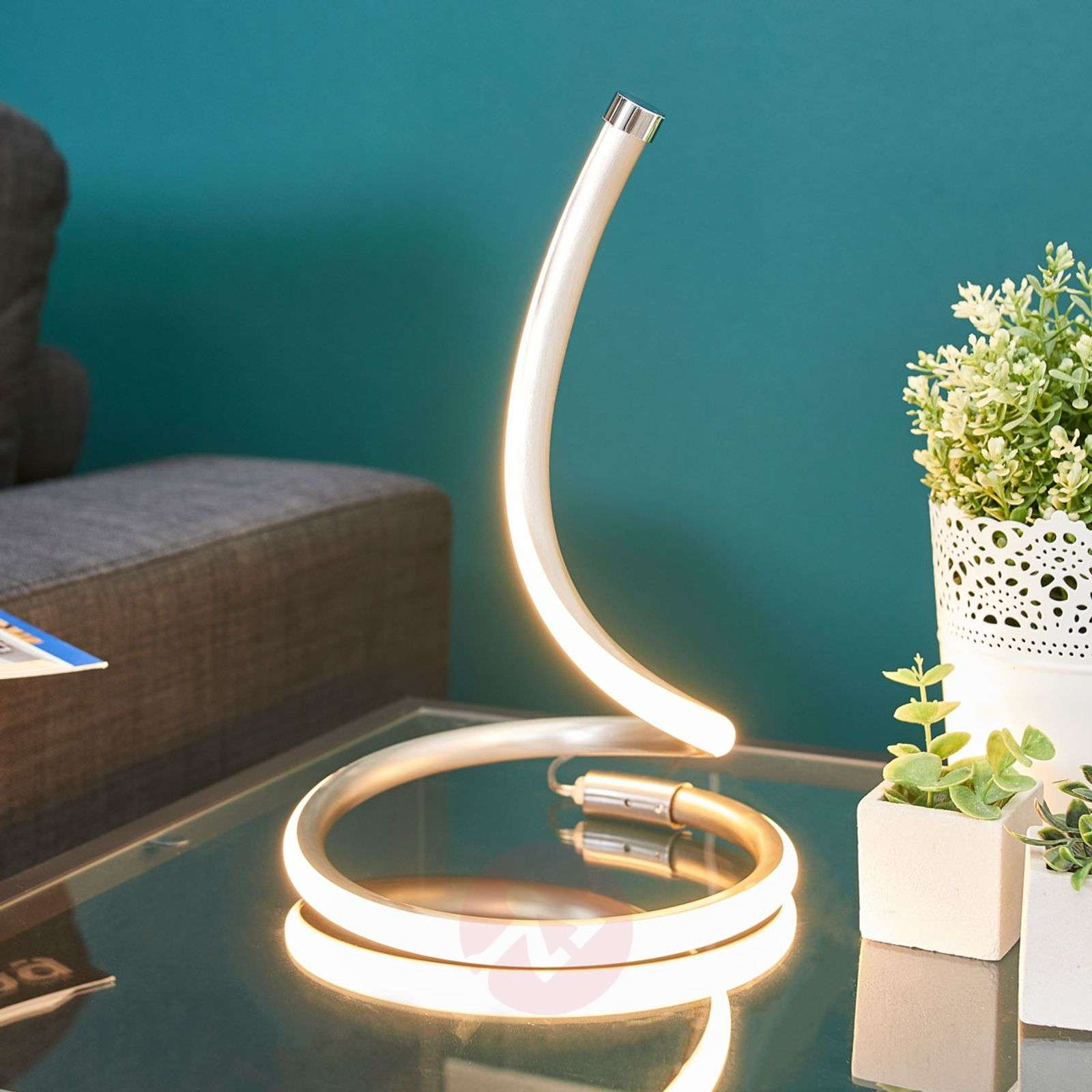 Sena LED table lamp with curved design-9985075-02
