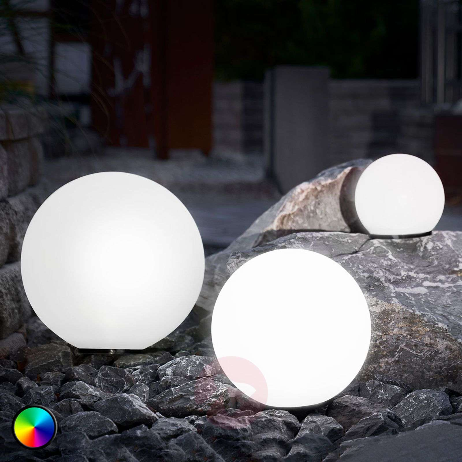 Set of 3 LED solar balls, colour change function-3012559-01