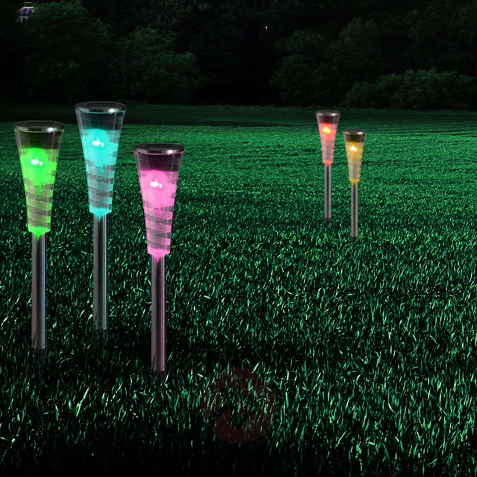 Set of 5 solar light Nahia with RGB colour change-4015017-01