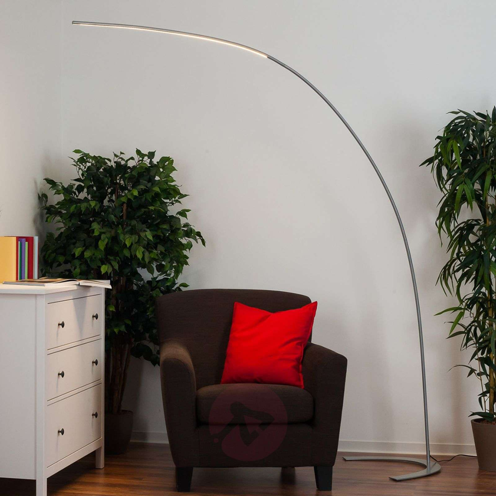 Silver Coloured Arc Shaped Led Floor Lamp Danua Lights Ie