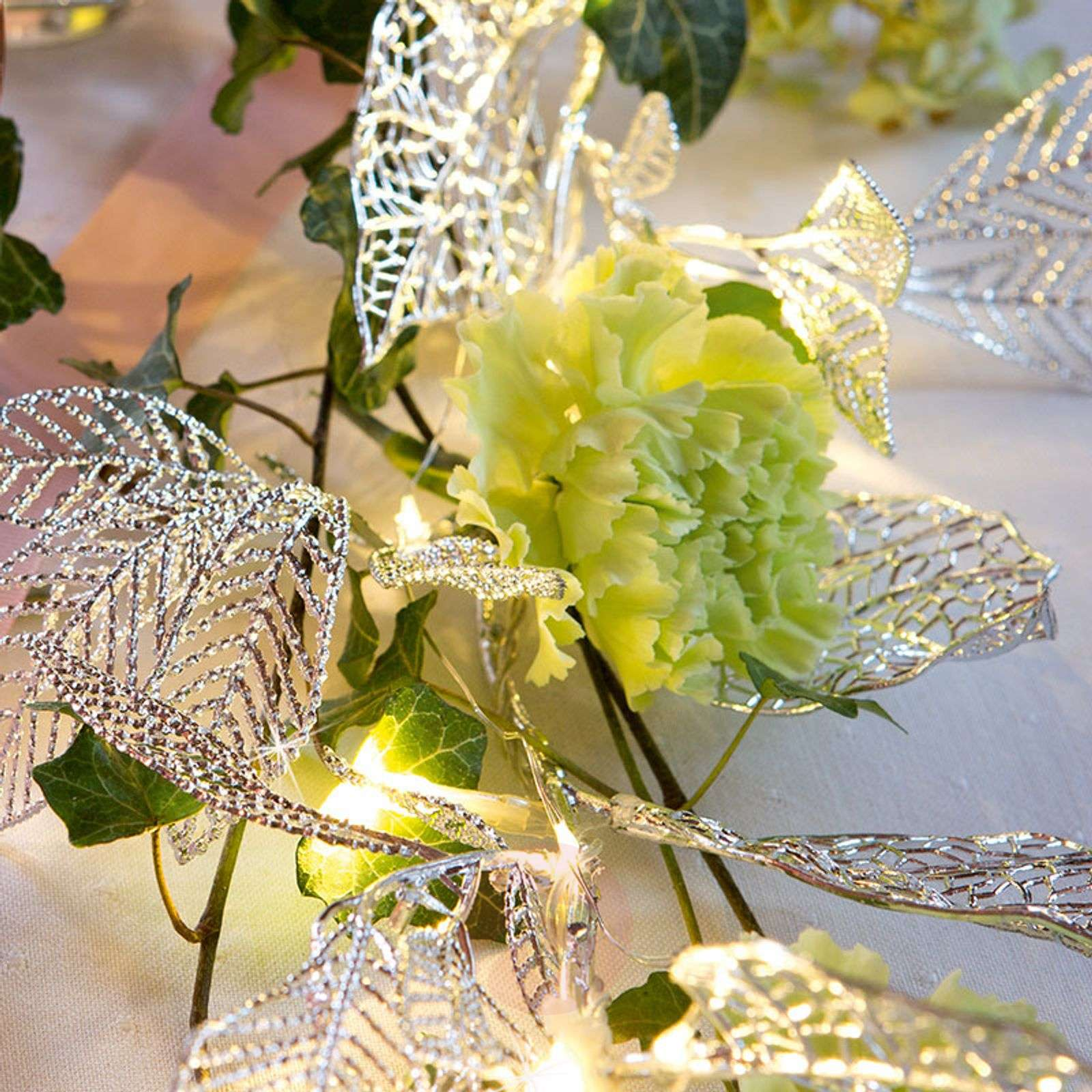 Silver-coloured leaves LED garland-4523358-01