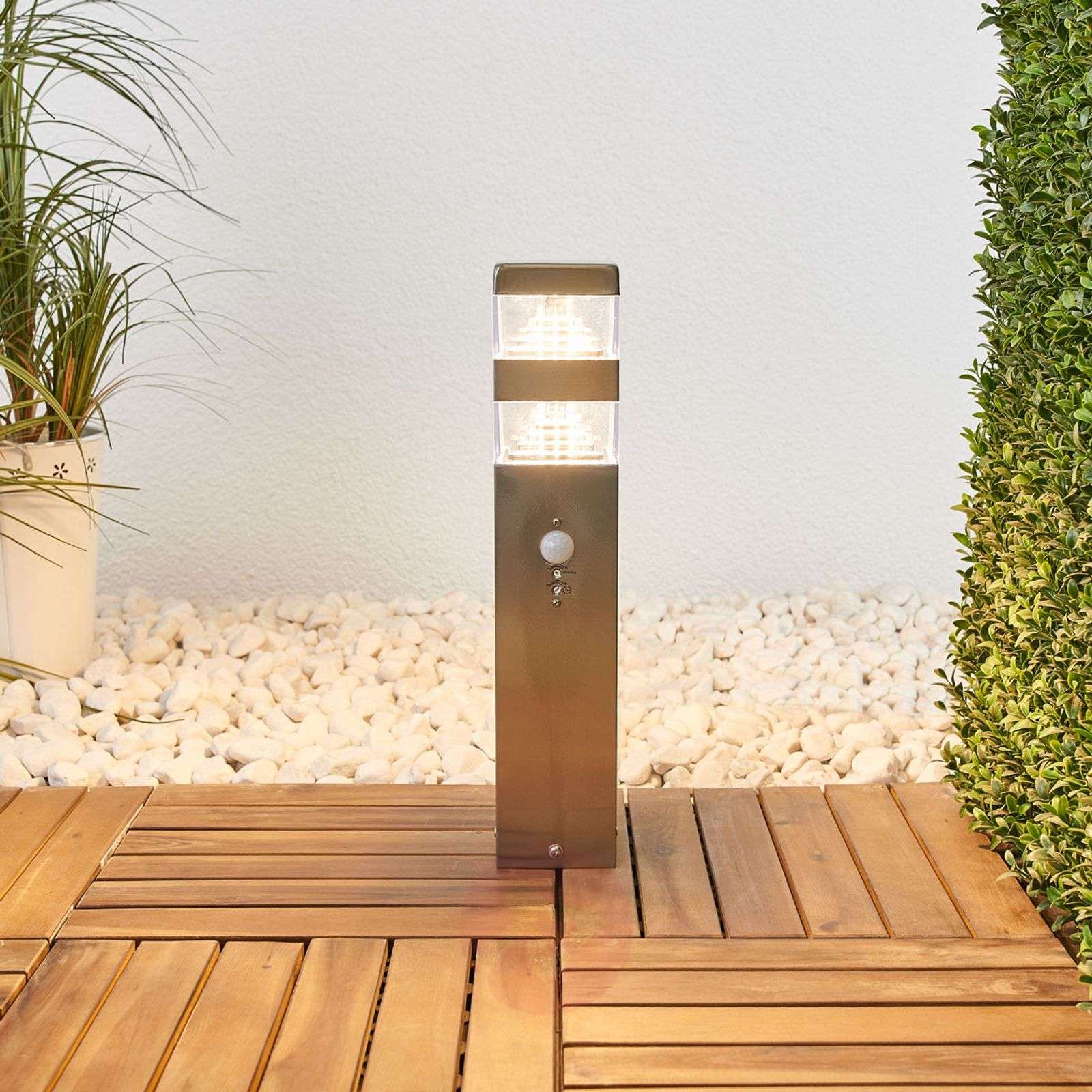Sinja motion sensor LED pillar lamp stain. steel-9988138-01