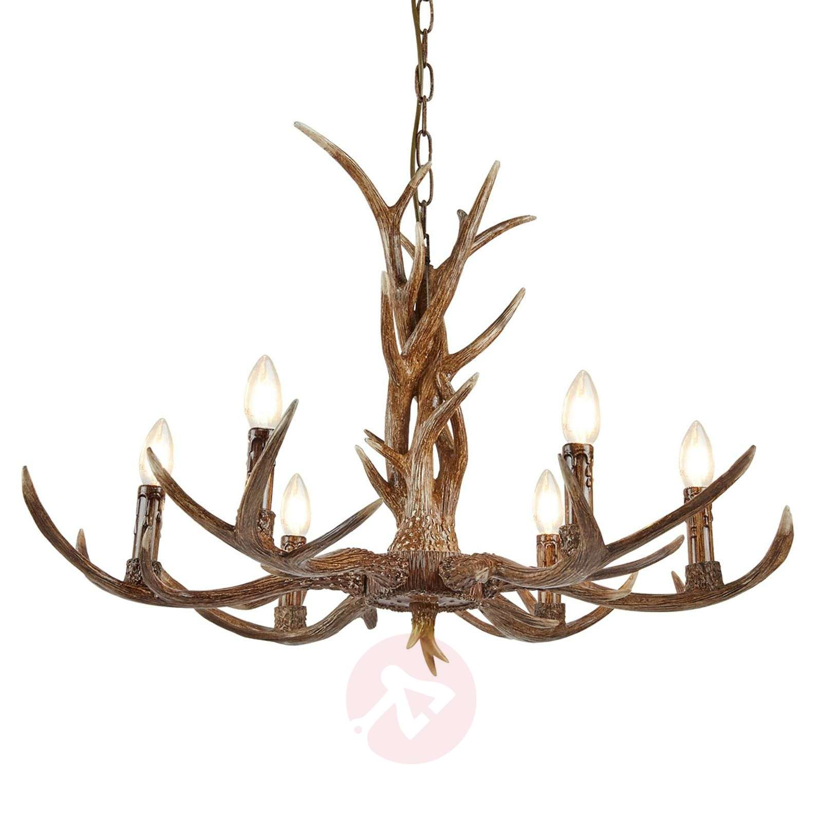 Six-bulb antler chandelier Stag, resin and steel-8573009-01