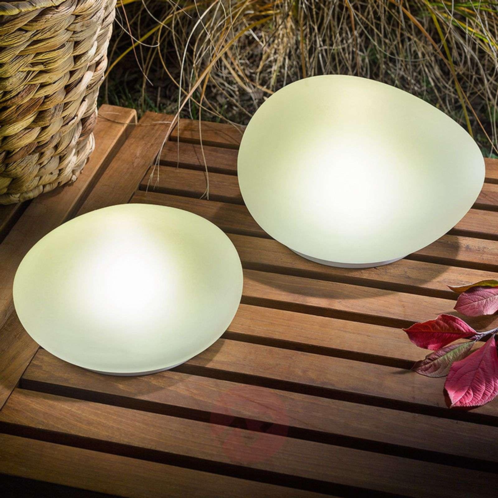 Solar-powered LED deco stones Flintstone set of 2-3012539-01