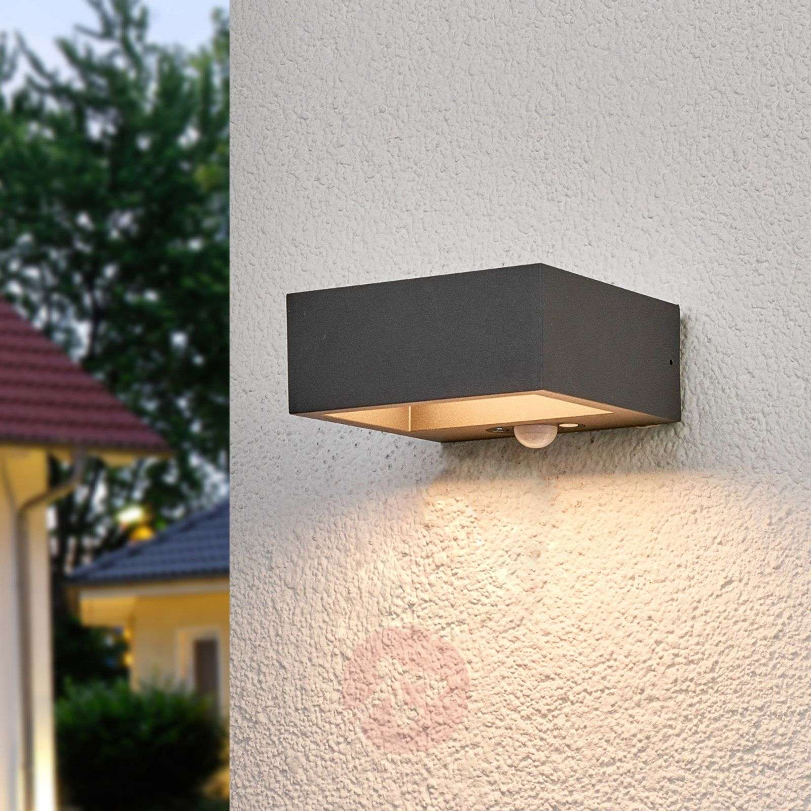 Solar powered led outdoor wall light mahra sensor lights ie