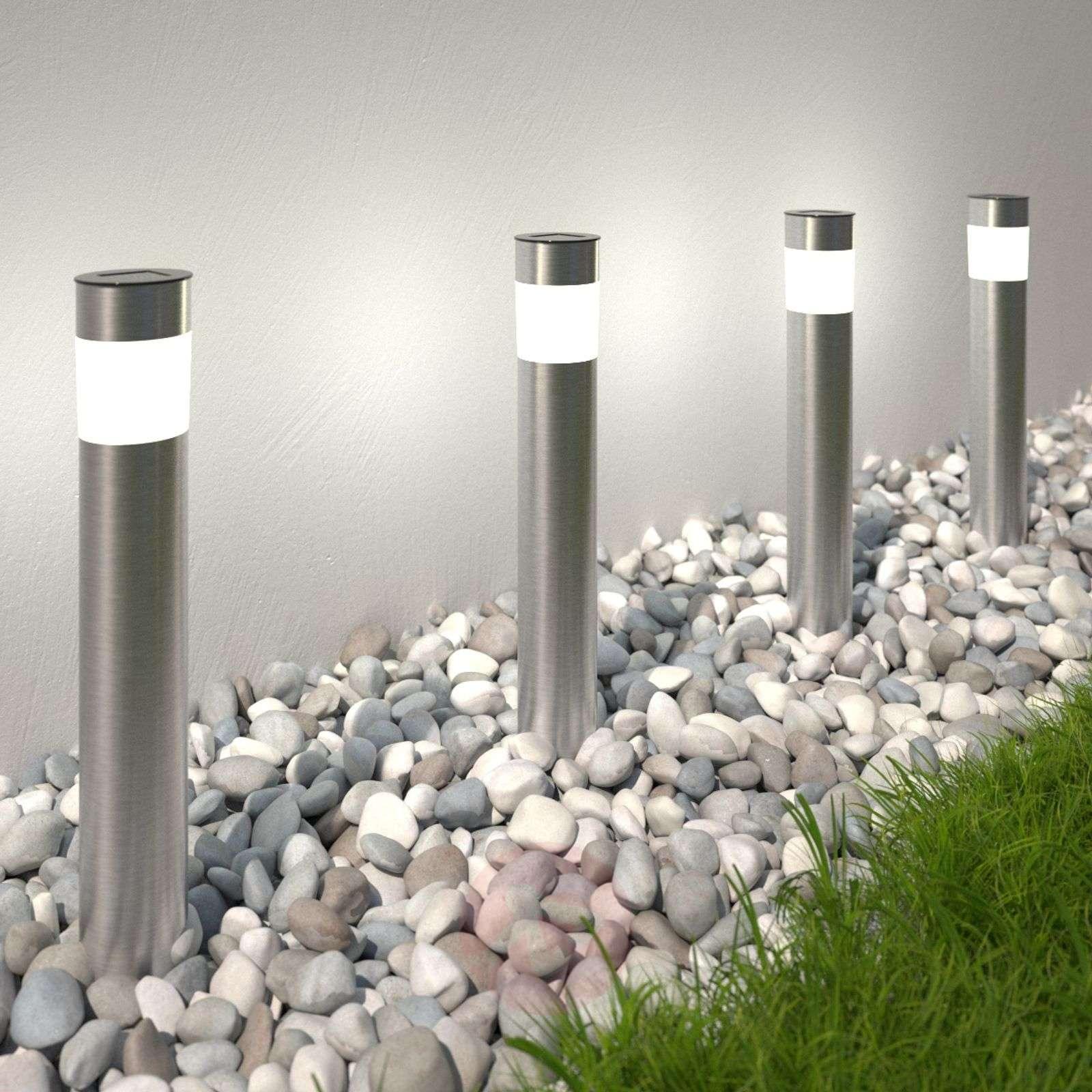 Solar-powered LED pillar light Reija in a set of 4-4014995-01