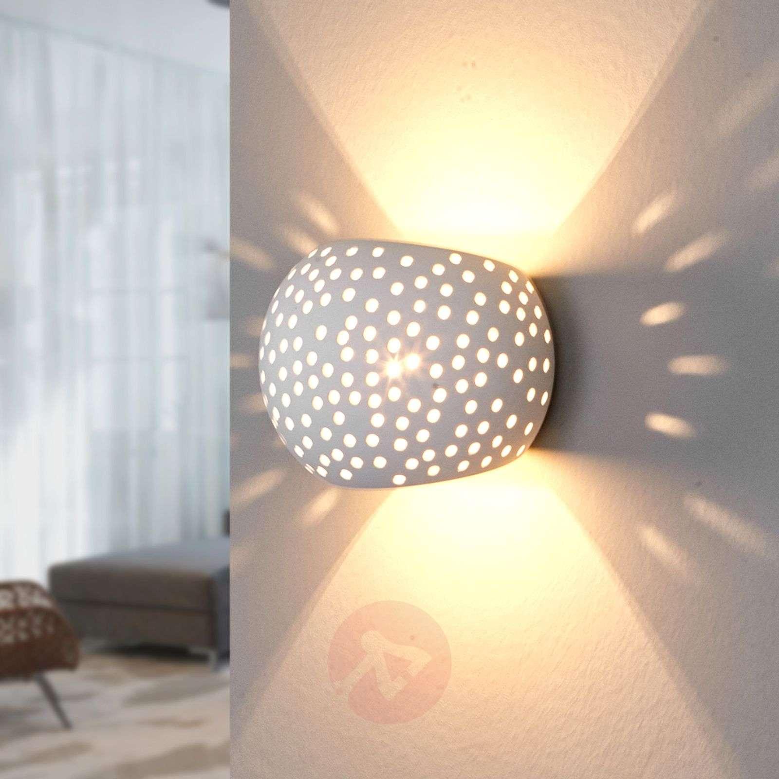 Spherical plaster wall lamp Jiru with hole pattern-9613050-02