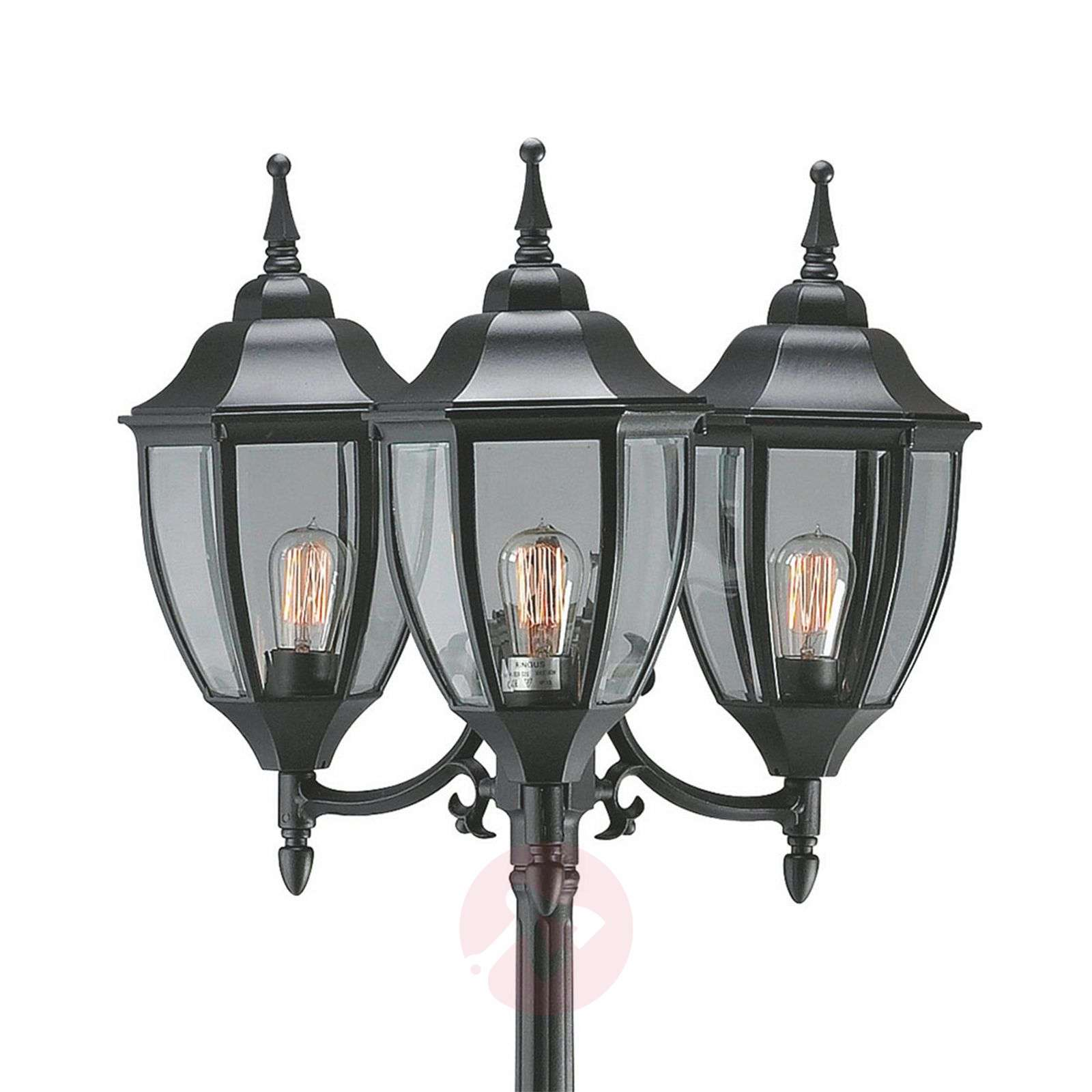 Splendid 3-bulb Jonna post light, black-6506055-01