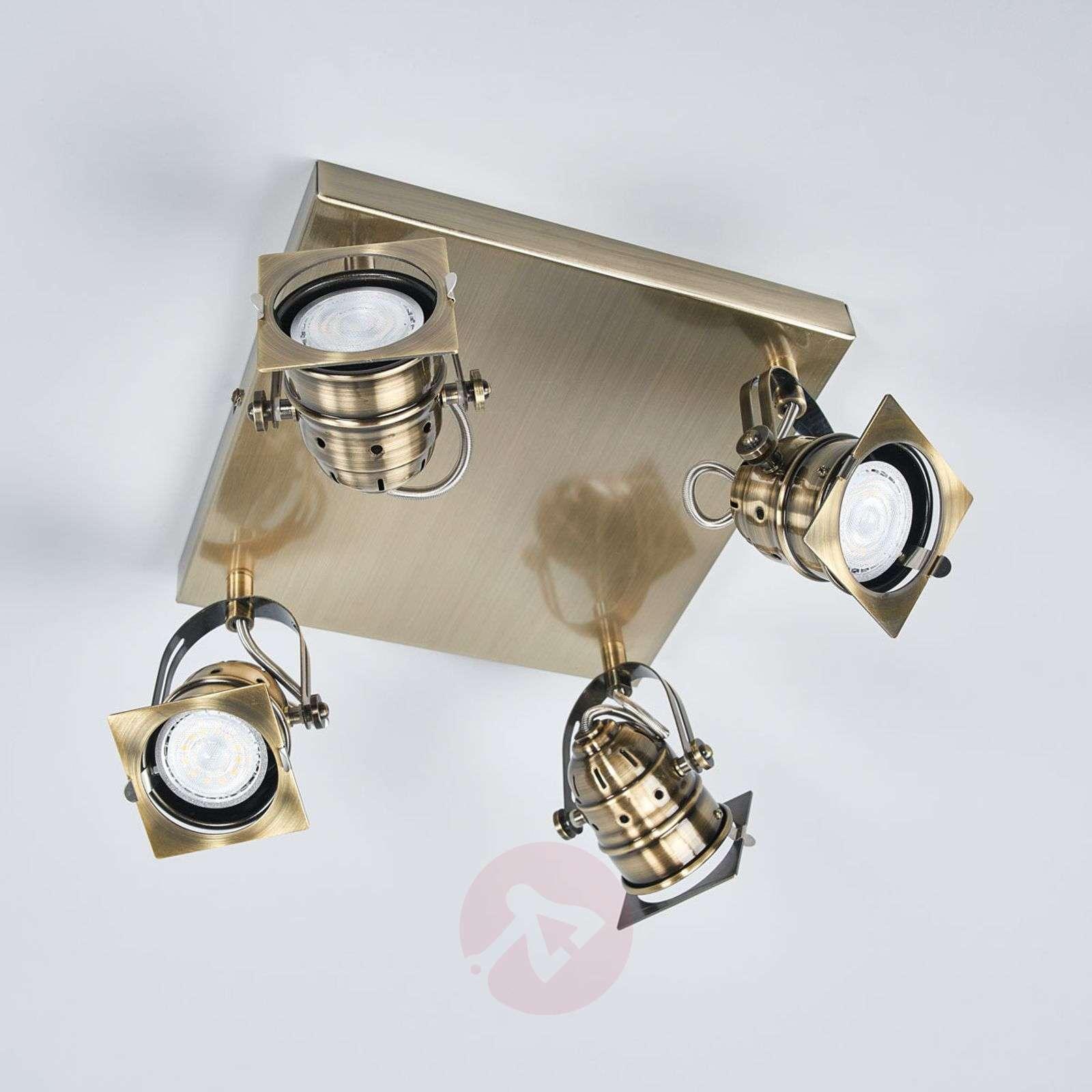 Square LED kitchen lamp Janek in antique brass-9639081-09