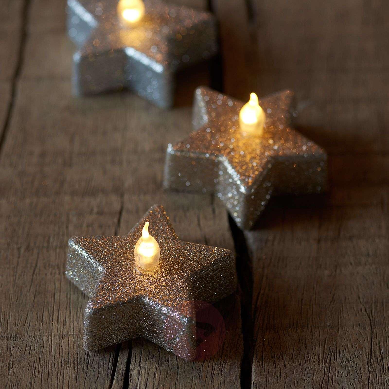 Star LED tea light Line, champagne glitter, 6-8577103-01