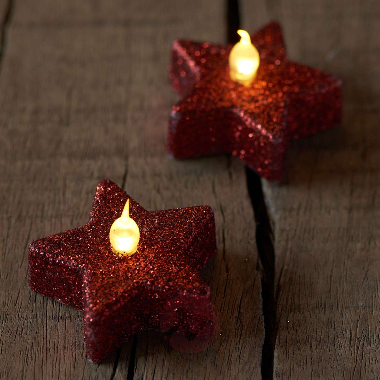Star LED tea light Line, scarlet glitter, set of 6-8577104-01