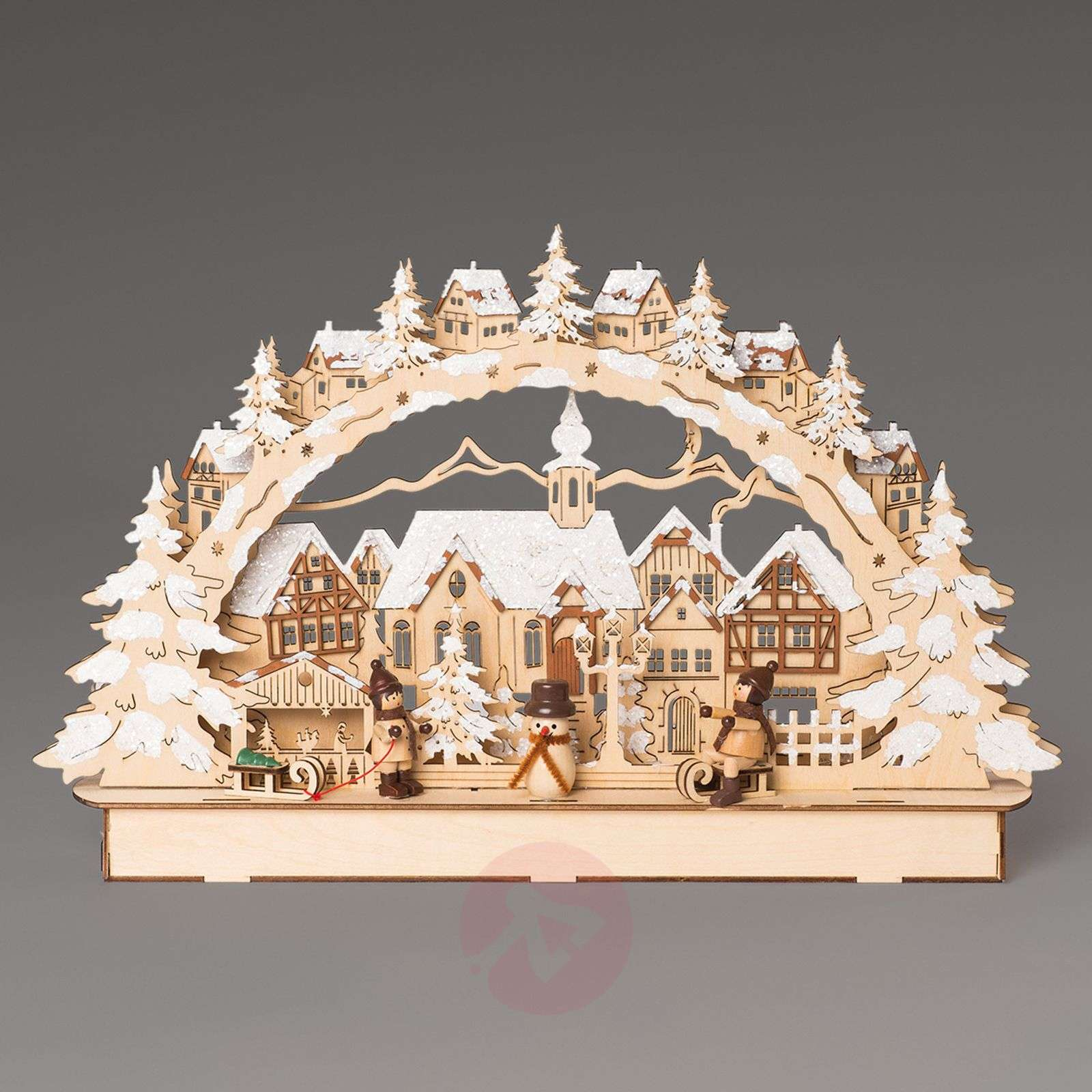 Stunning LED candle arch Town With Winter Children-8501098-01