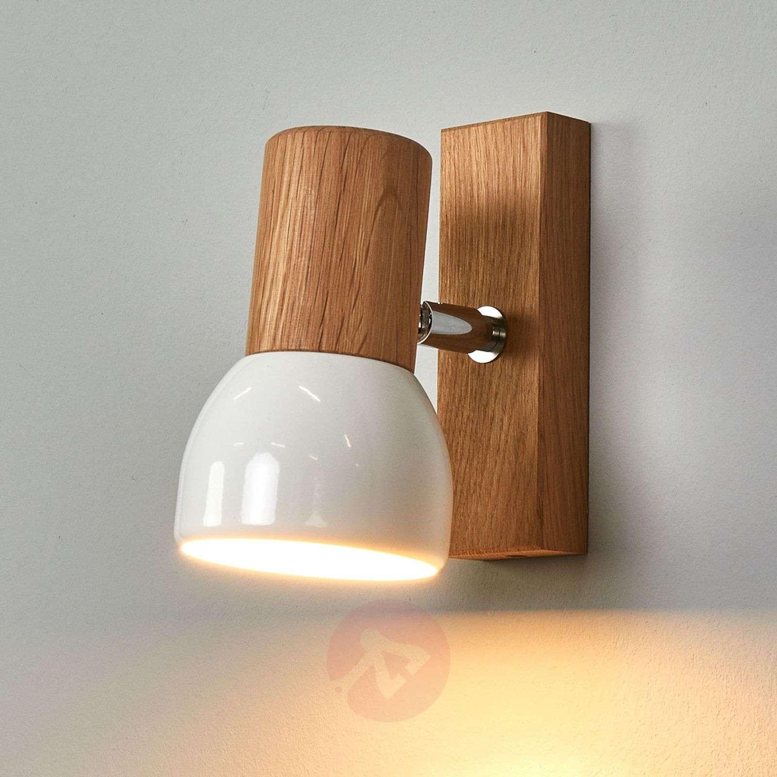 Svenda wall spotlight made of oiled oak wood-8574252-01
