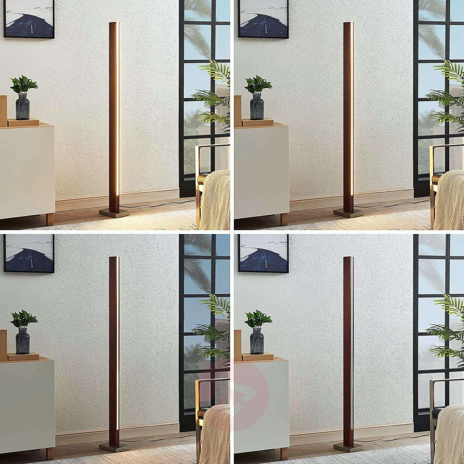 Tamlin LED wooden floor lamp, dark brown-9624503-01