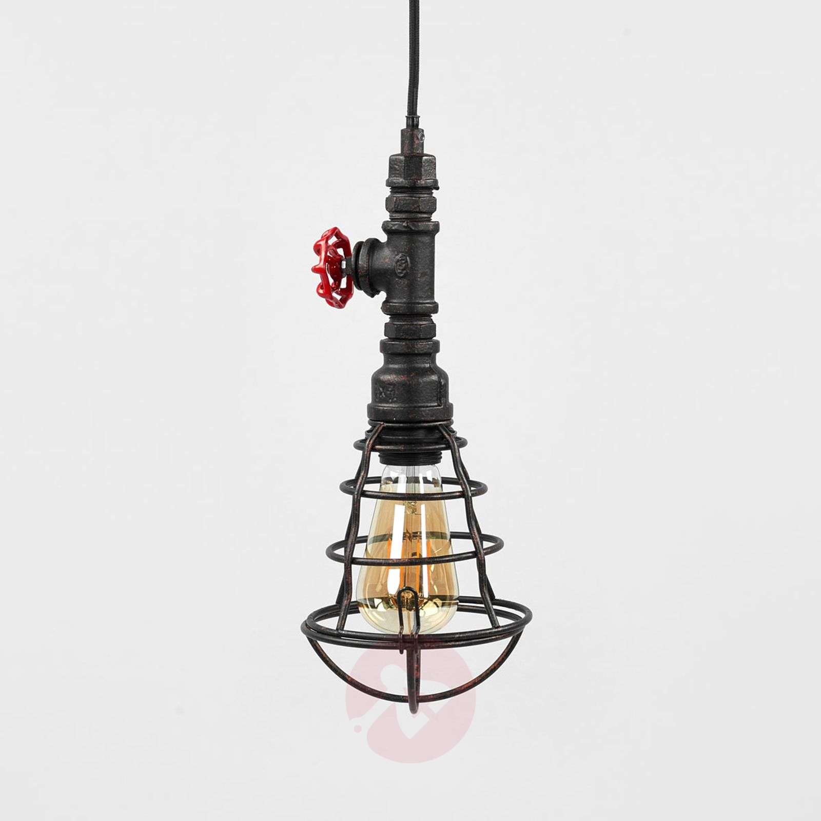 Tap pendant lamp with cage and one bulb-9634047-02