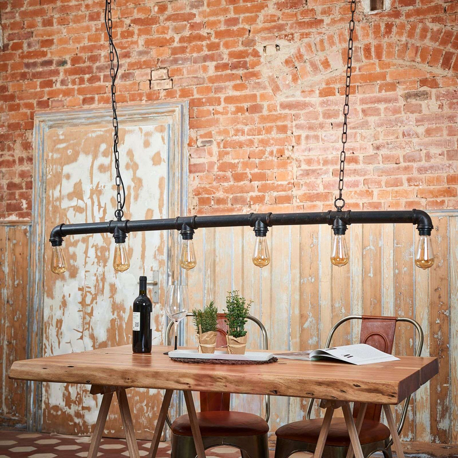 Tap pipe-shaped hanging light, 6-bulb, down-9634051-02