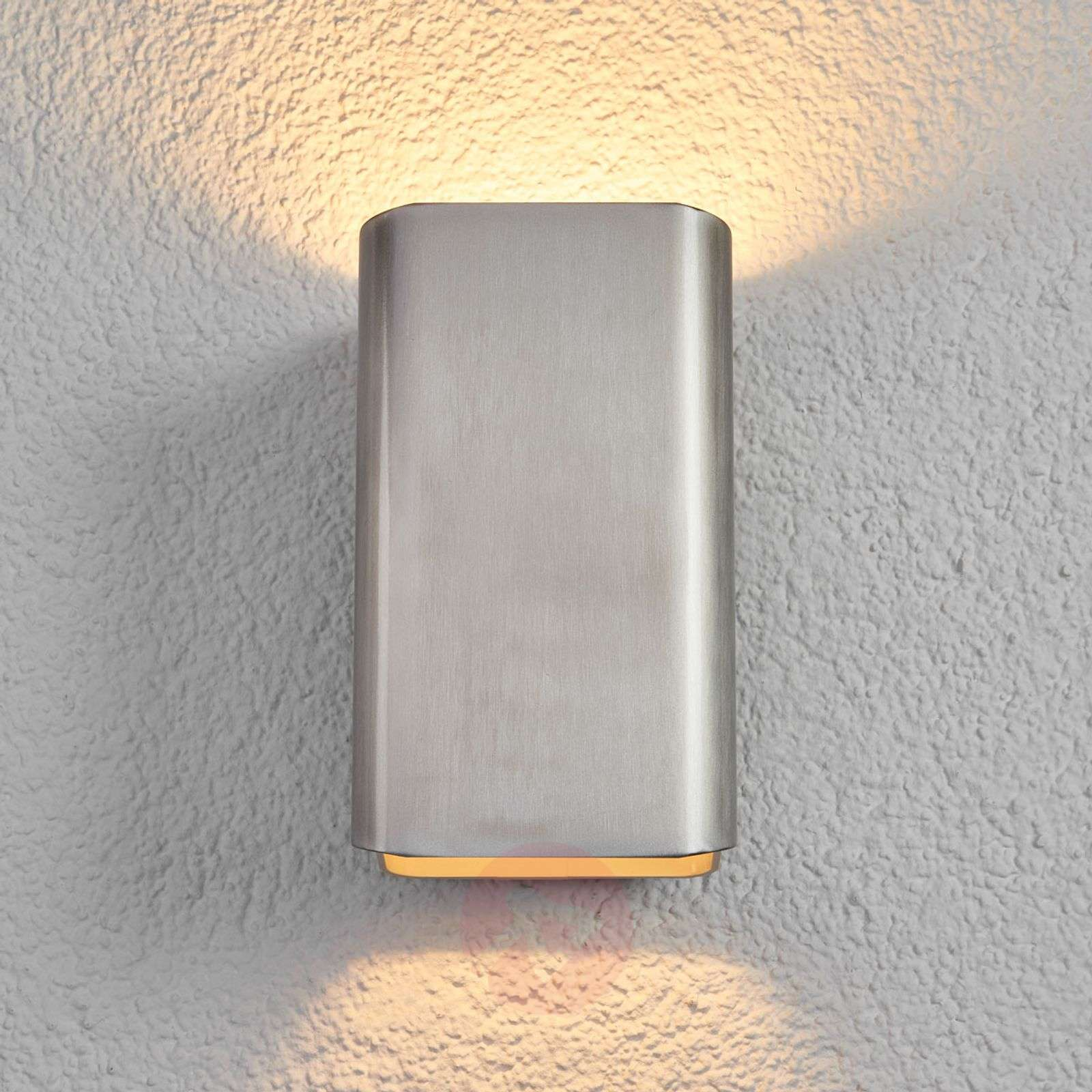Temis LED iDual outdoor wall light, brushed nickel-9038059-01