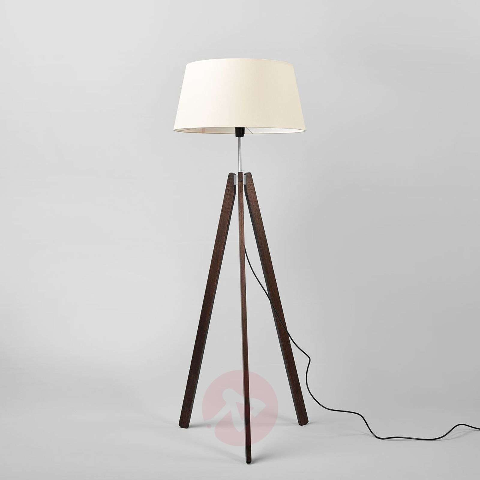 Thea wooden floor lamp w. champagne-coloured shade-6722432-01