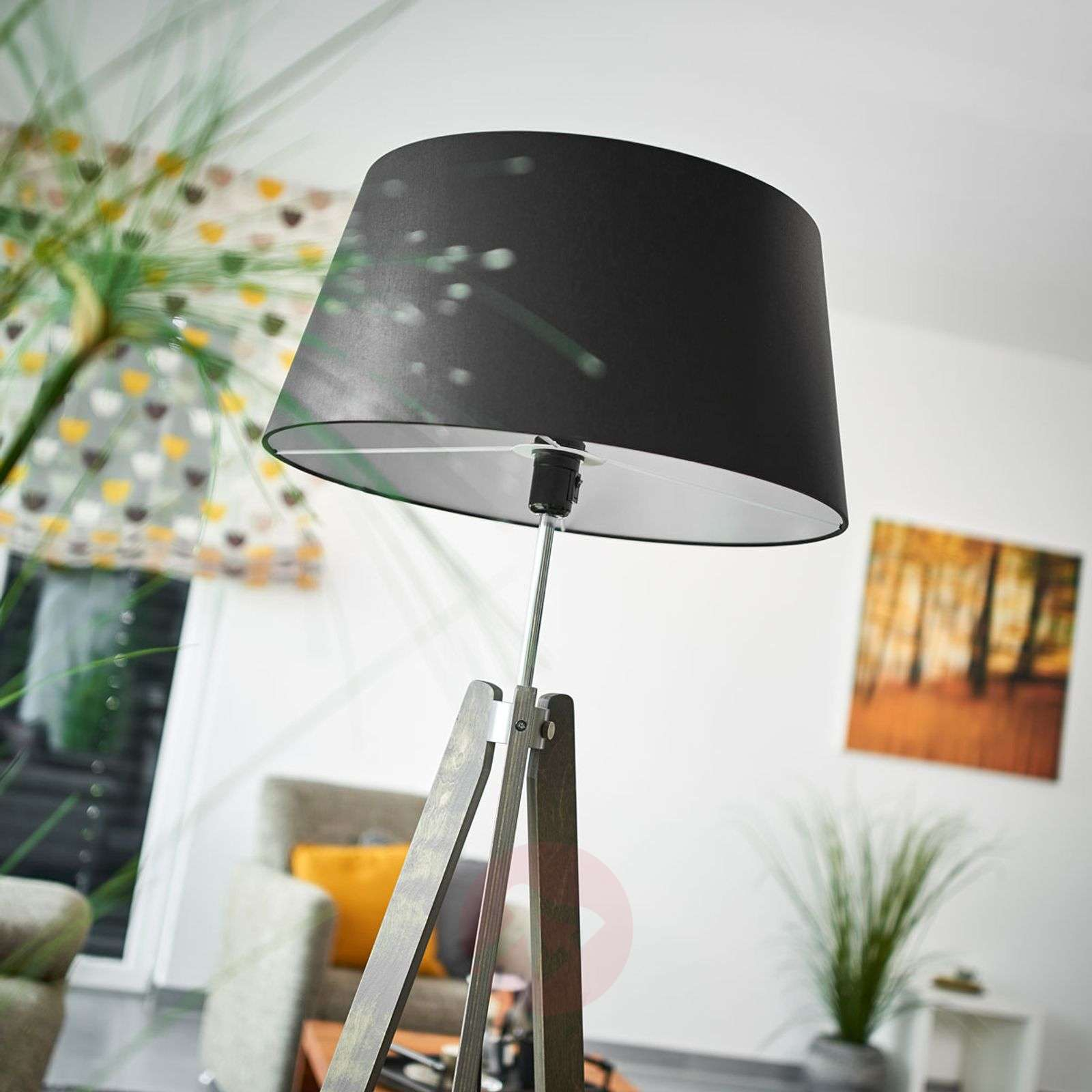 Thea wooden floor lamp with black chintz shade-6722429-01