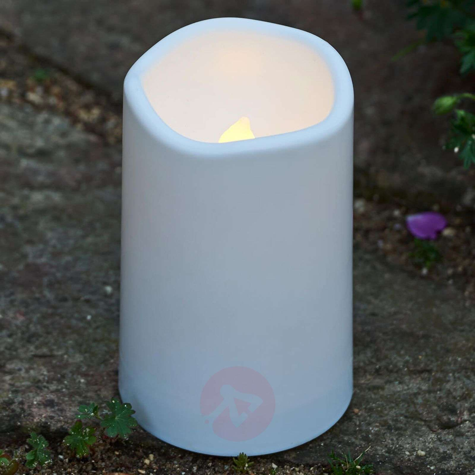 Theo LED grave candle in white-8577240-01