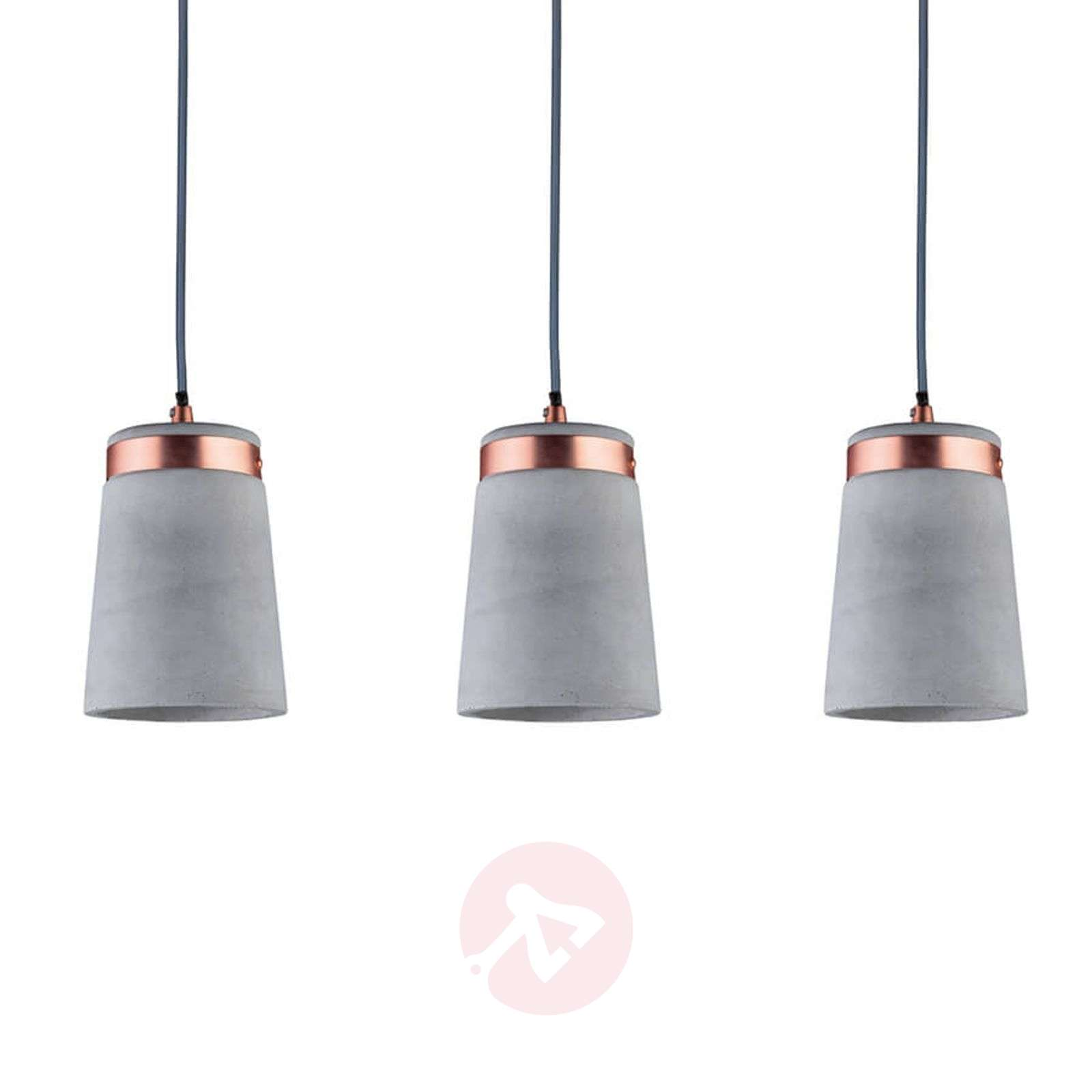 Three-bulb Hanging light Stig, concrete lampshade-7601052-01