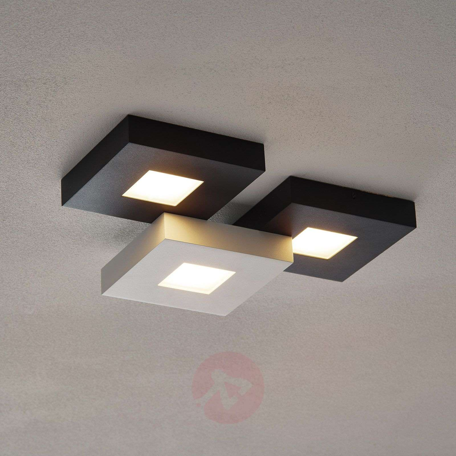 Three-bulb LED ceiling lamp Cubus, black and white-1556075-01