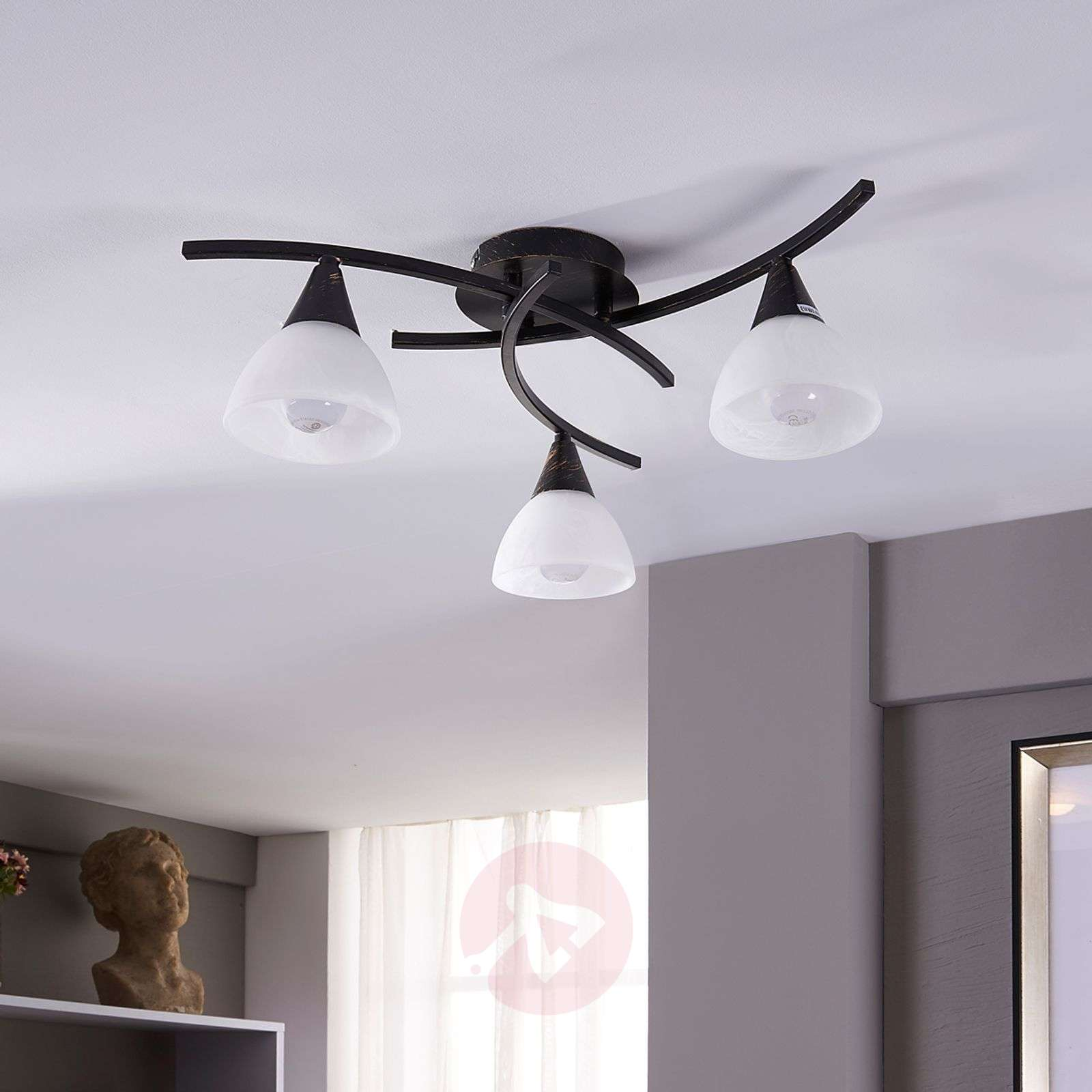 Three-bulb LED ceiling lamp Della, black-gold-9620970-01