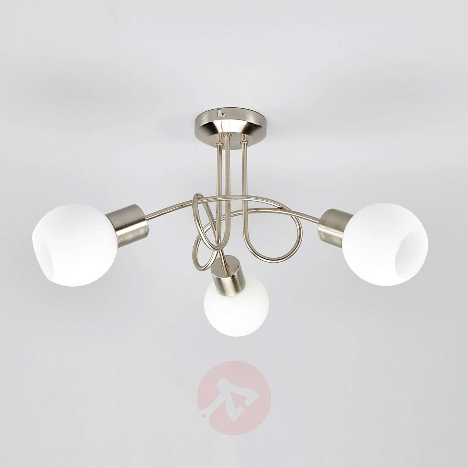 Three-bulb LED ceiling light Elaina, matt nickel-9620029-01