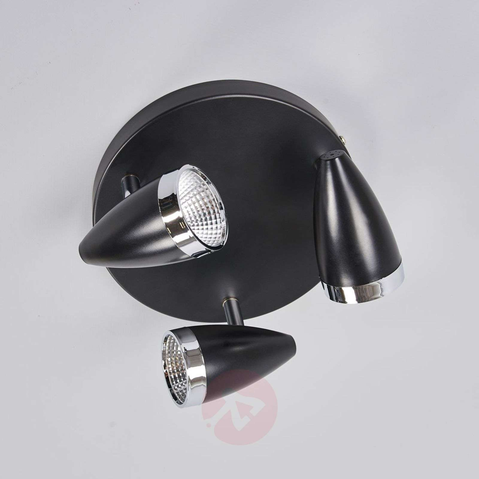 Three-bulb LED ceiling spotlight Ron, black-9954004-01