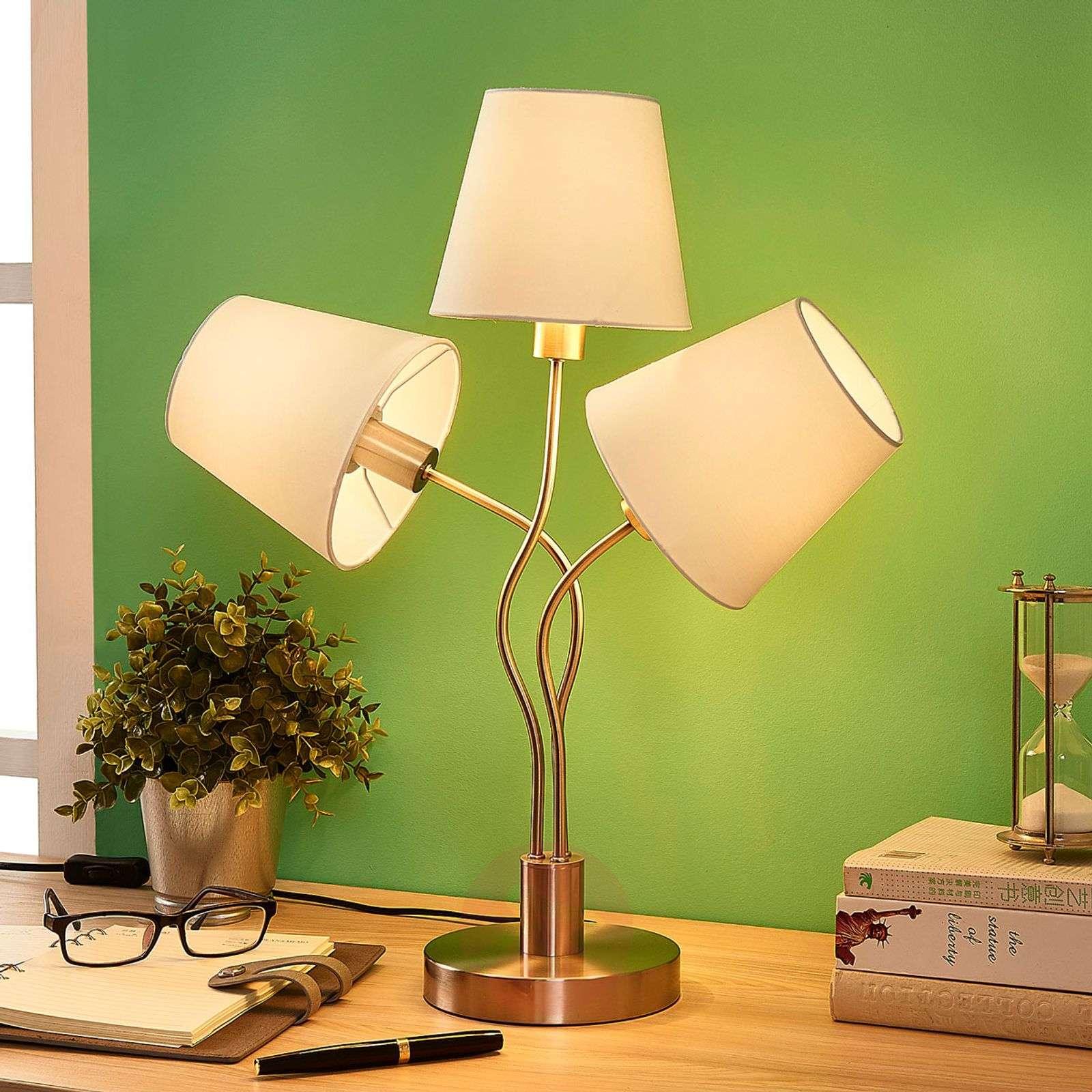 Three-bulb table lamp Sharon, fabric lampshades-9621250-02