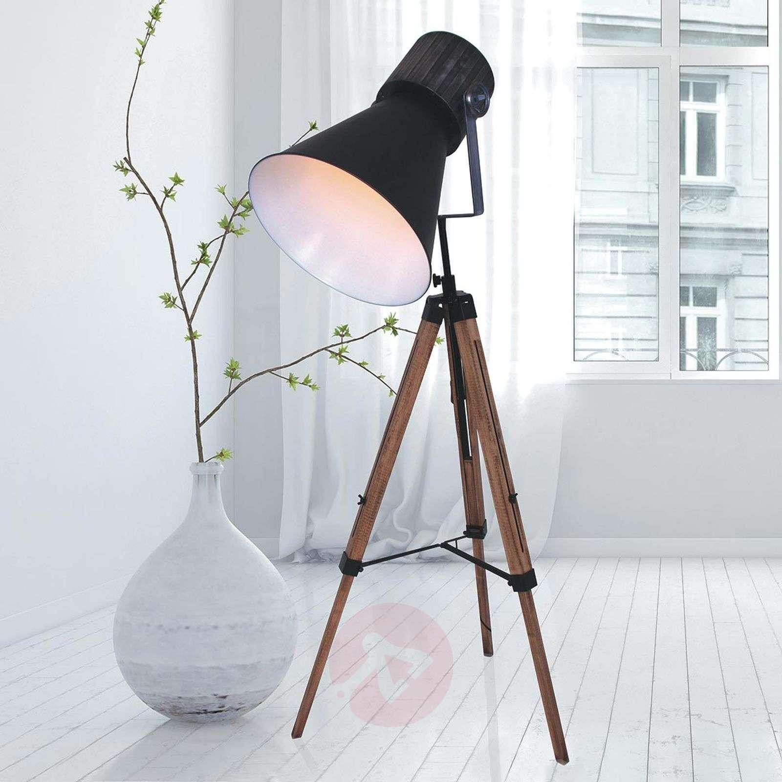buy online 54af7 30a40 Three-legged floor lamp Hoody, wood and metal