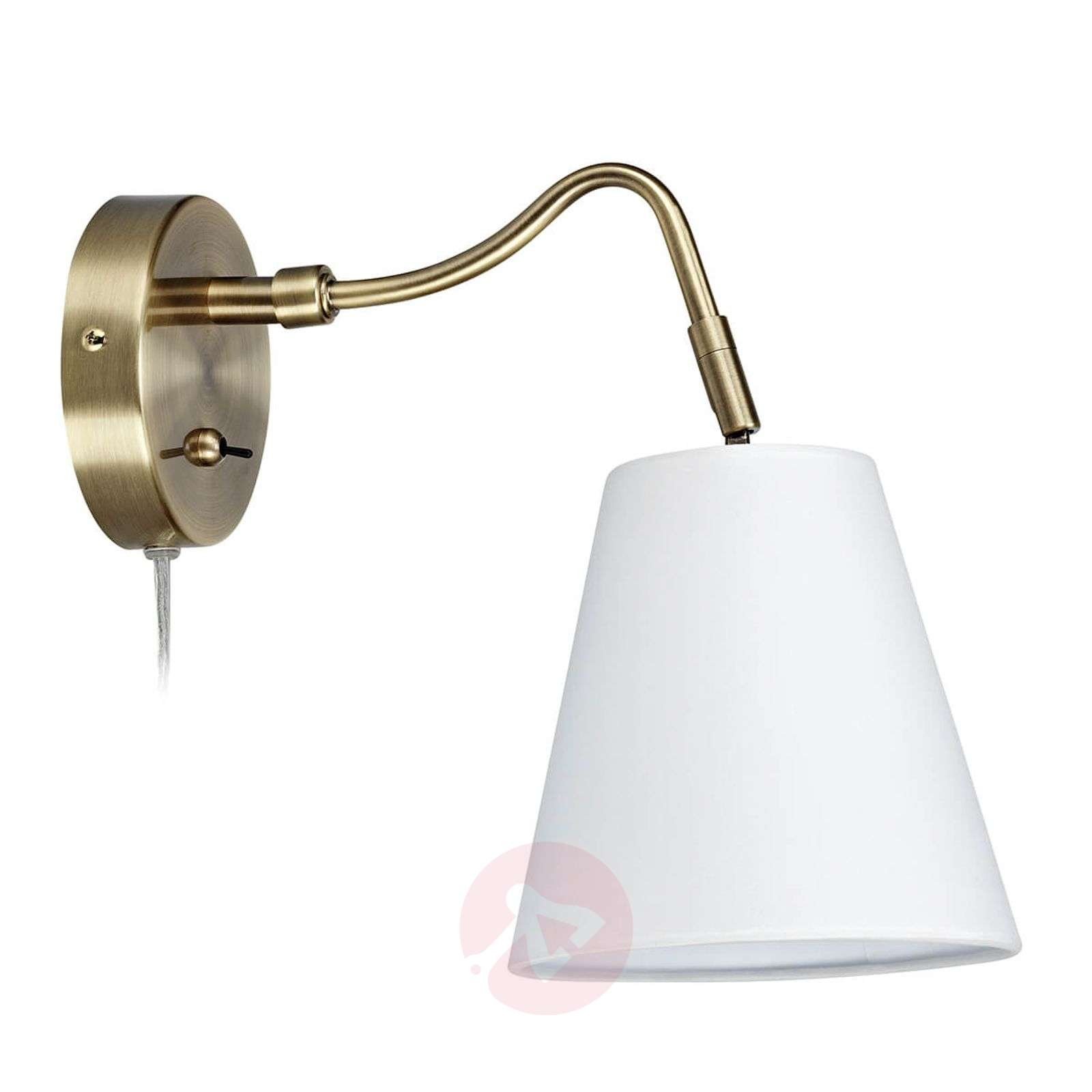 Tindra fabric wall light in antique brass look-6506160-01