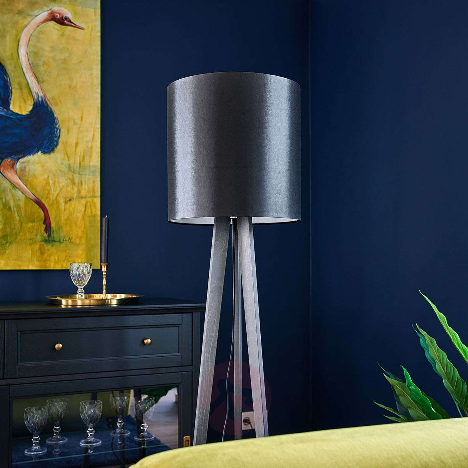 Tripod fabric floor lamp Nida, black-grey-6722440-01