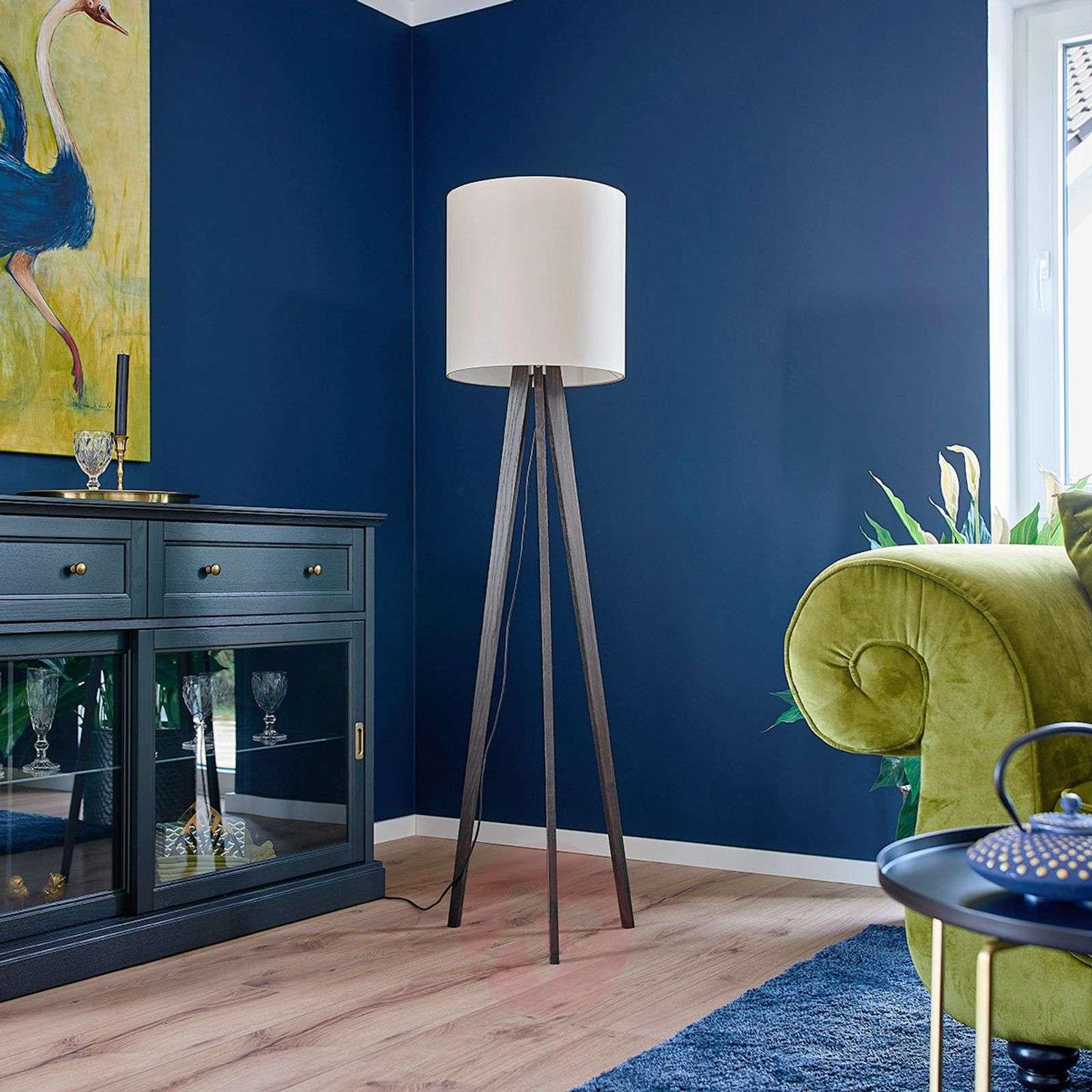 Tripod fabric floor lamp Nida, colonial oak-6722444-01